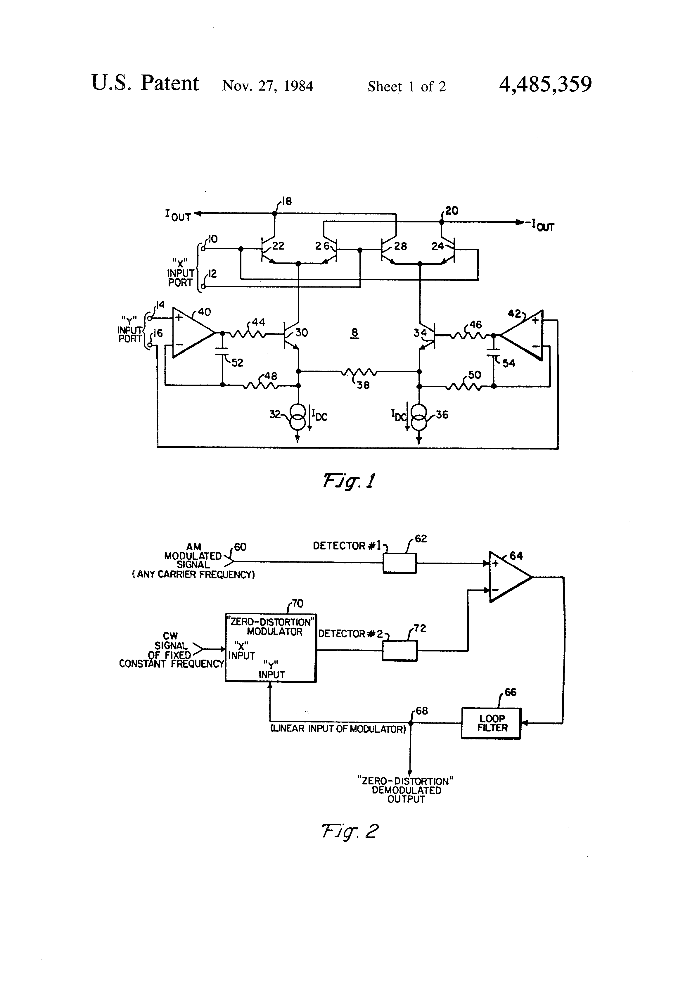 Patent Us4485359 Amplitude Modulator Having Substantially Zero Am Modulation And Demodulation Circuit Drawing