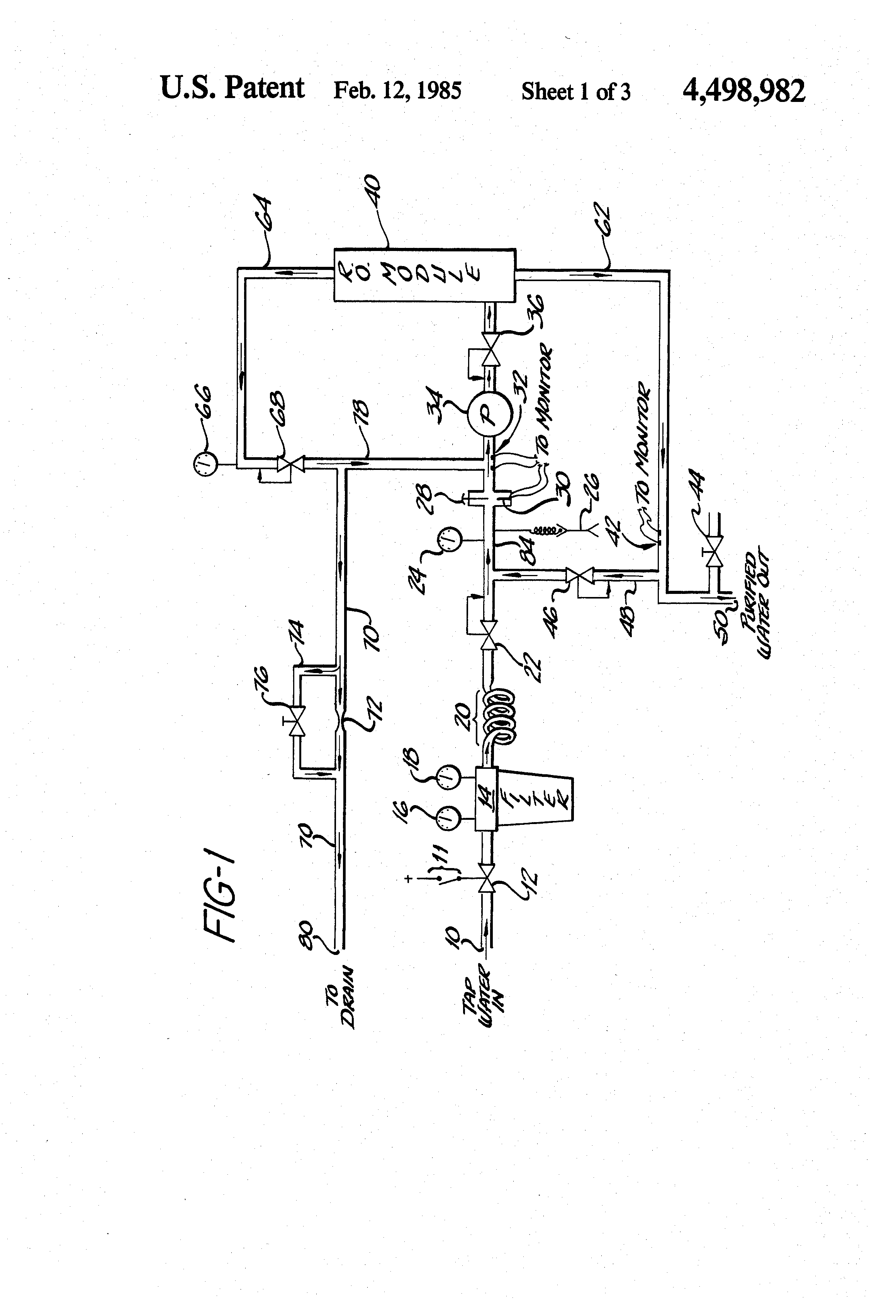 Patent US4498982 - Reverse osmosis water purification system