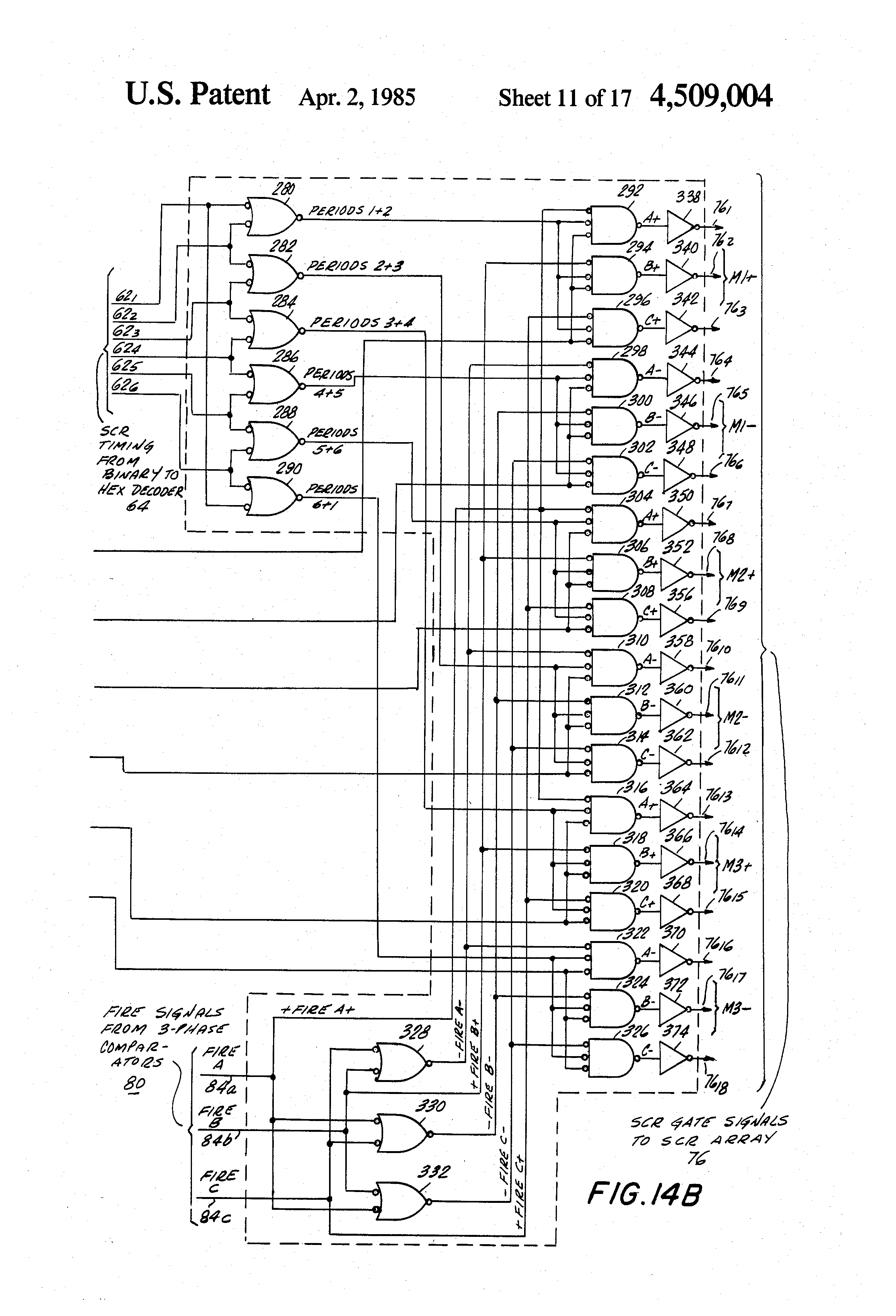 Patent Us4509004 Apparatus For Variable Speed Drive Of An Dc Motor Control Circuit Besides 3 Phase Scr Rectifier Drawing