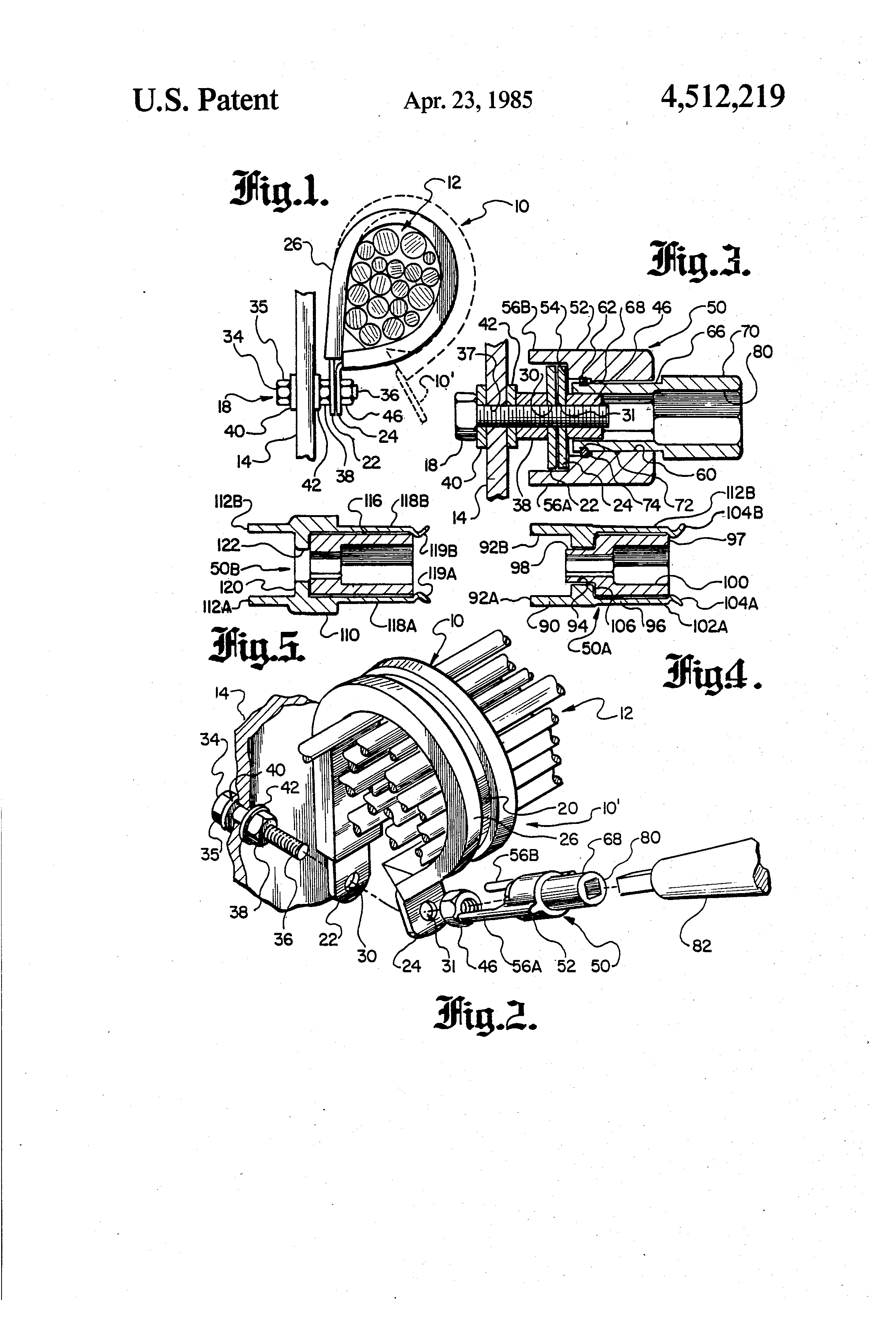 Patent Us4512219 Tool For Installing Electrical Wire Harness Wiring Clamps Drawing