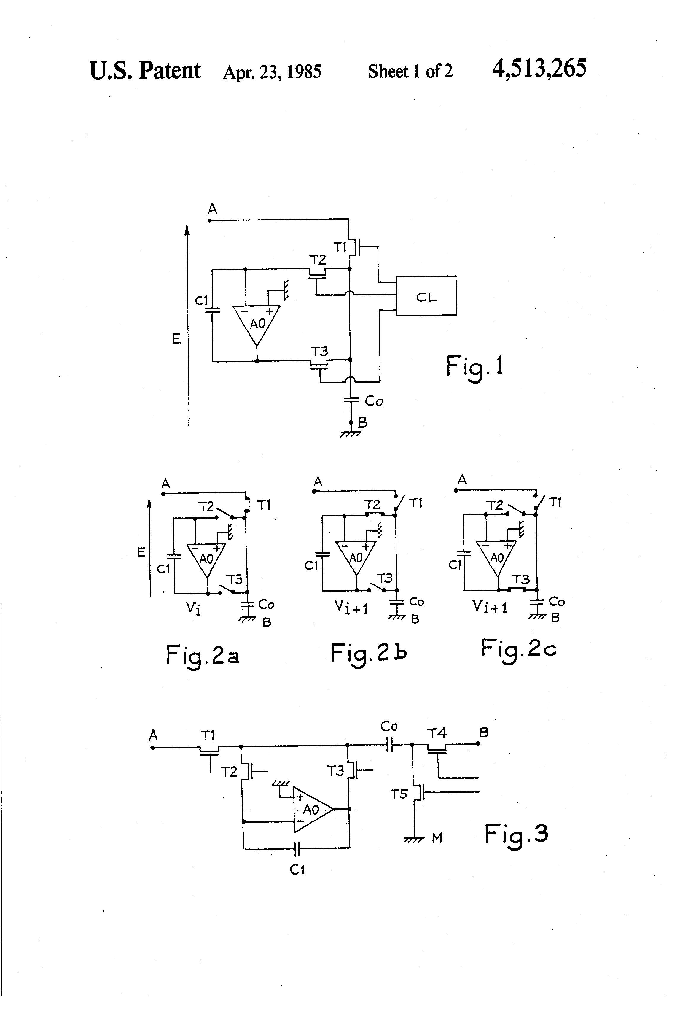 Patent Us4513265 3 Phase Switched Capacitor Circuit Having An Capacitorcircuit Drawing
