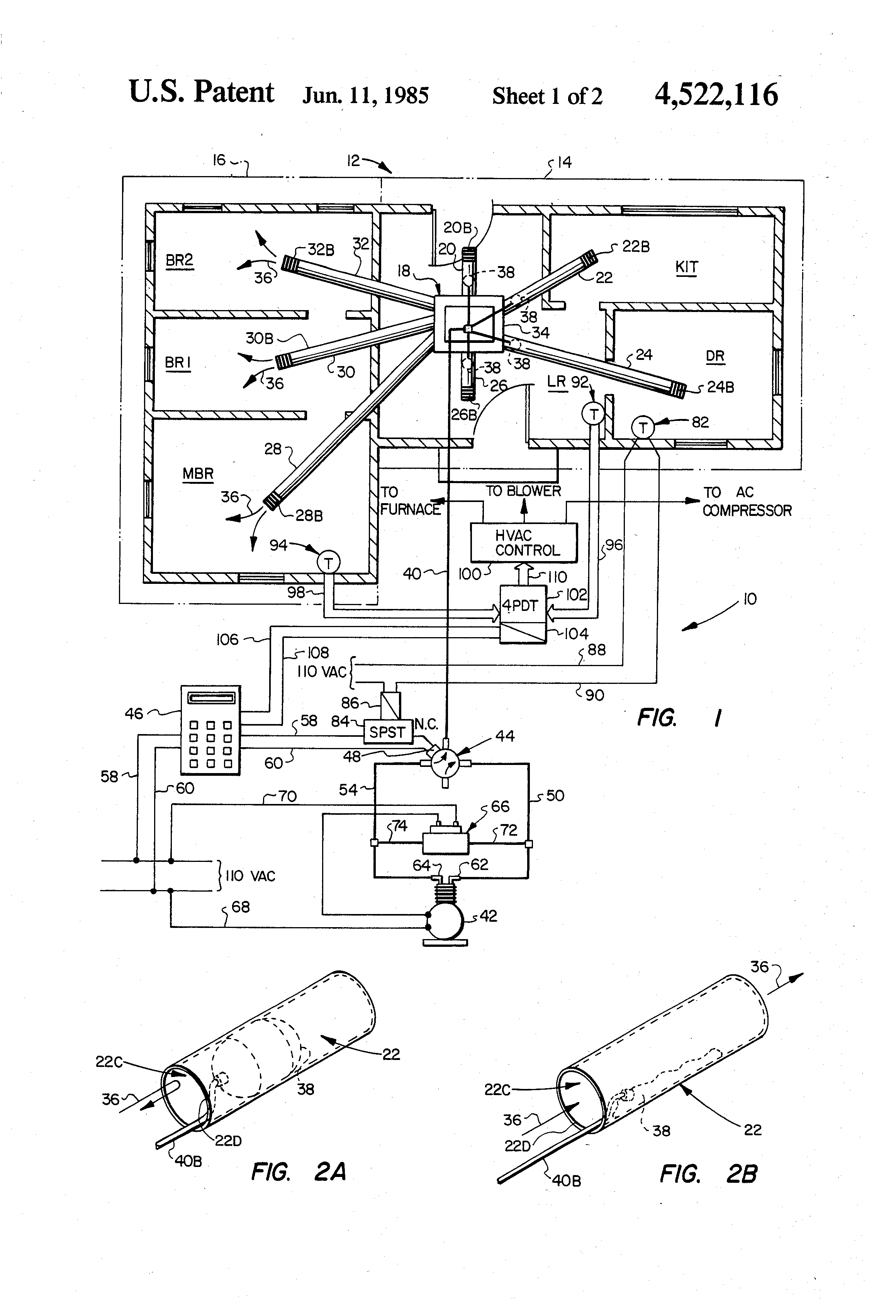 Patent Us4522116 Selective Zone Isolation For Hvac System Google Drawing Of