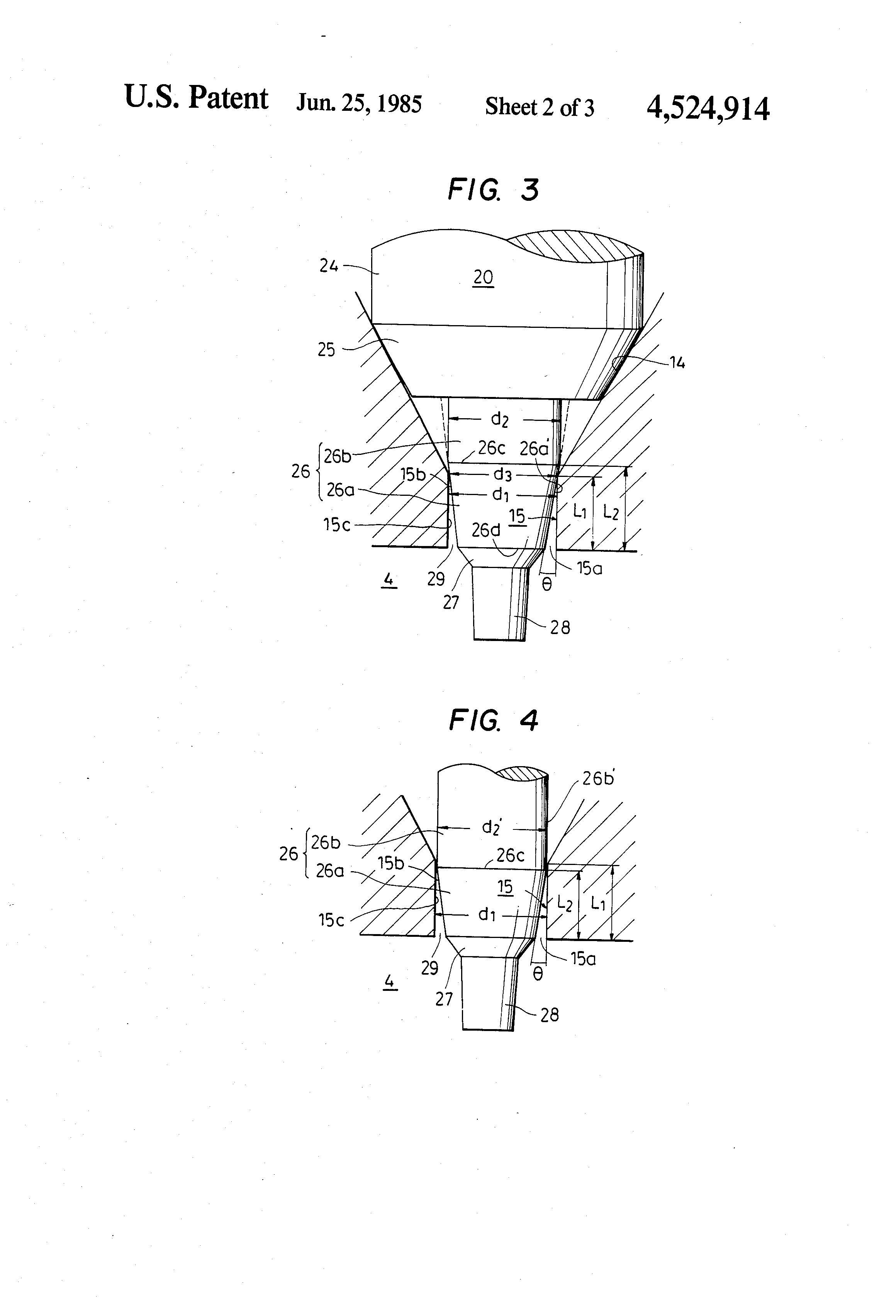 Brevet US4524914 - Throttling pintle-type fuel injection nozzle