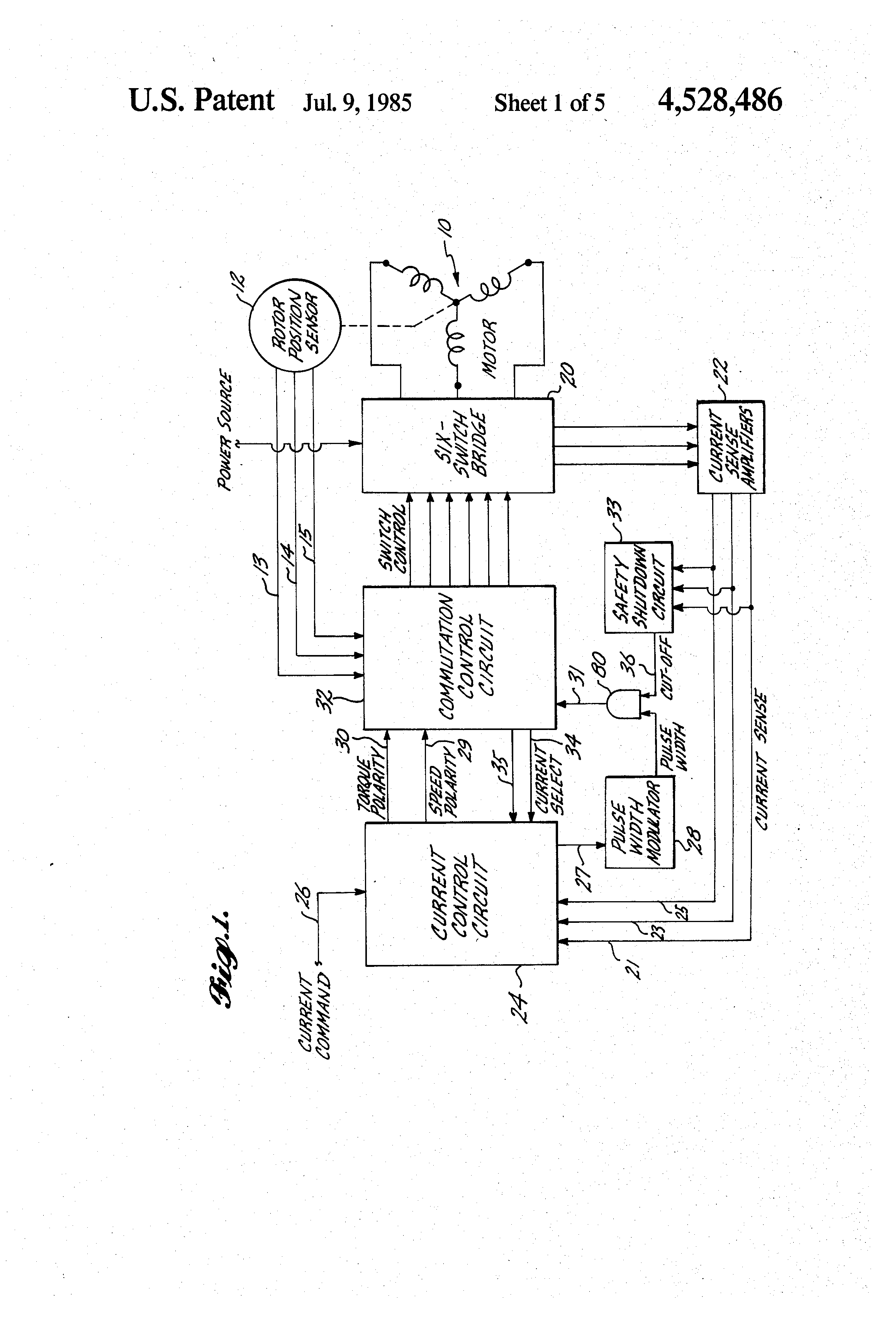 Patent Us4528486 Controller For A Brushless Dc Motor Google Patents Clockwise Anticlockwise Control Hbridge Circuit Electronic Circuits Drawing