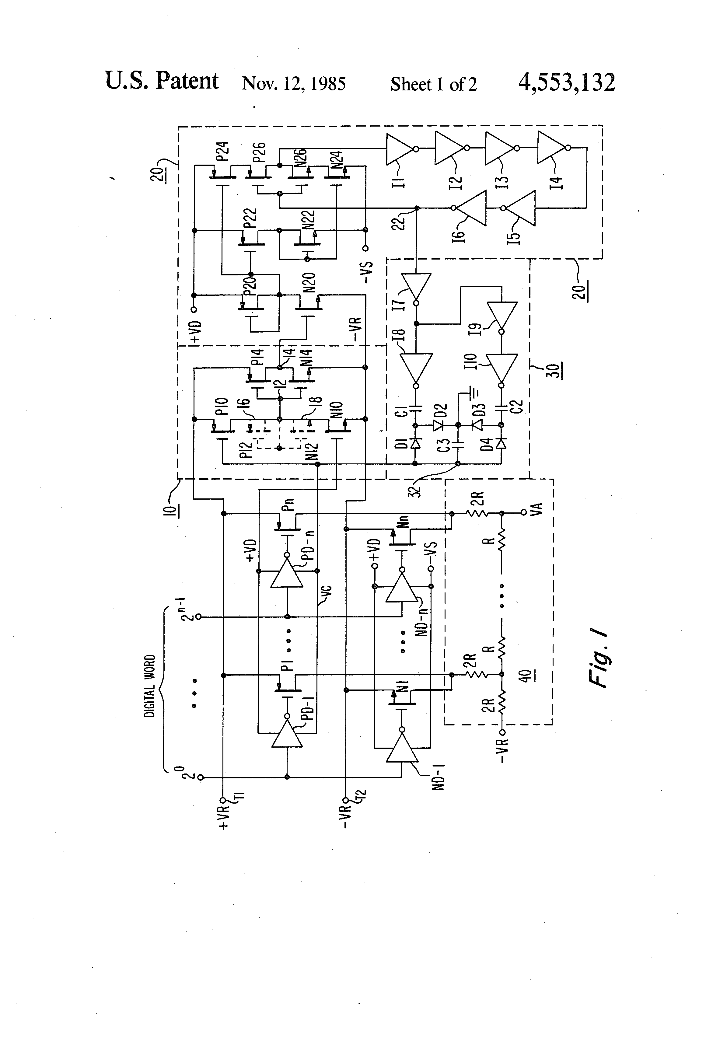 Patente Us4553132 Apparatus For Matching Fet Switches As A This Digitaltoanalog Converter Dac Integrated Circuit Is Designed Patent Drawing