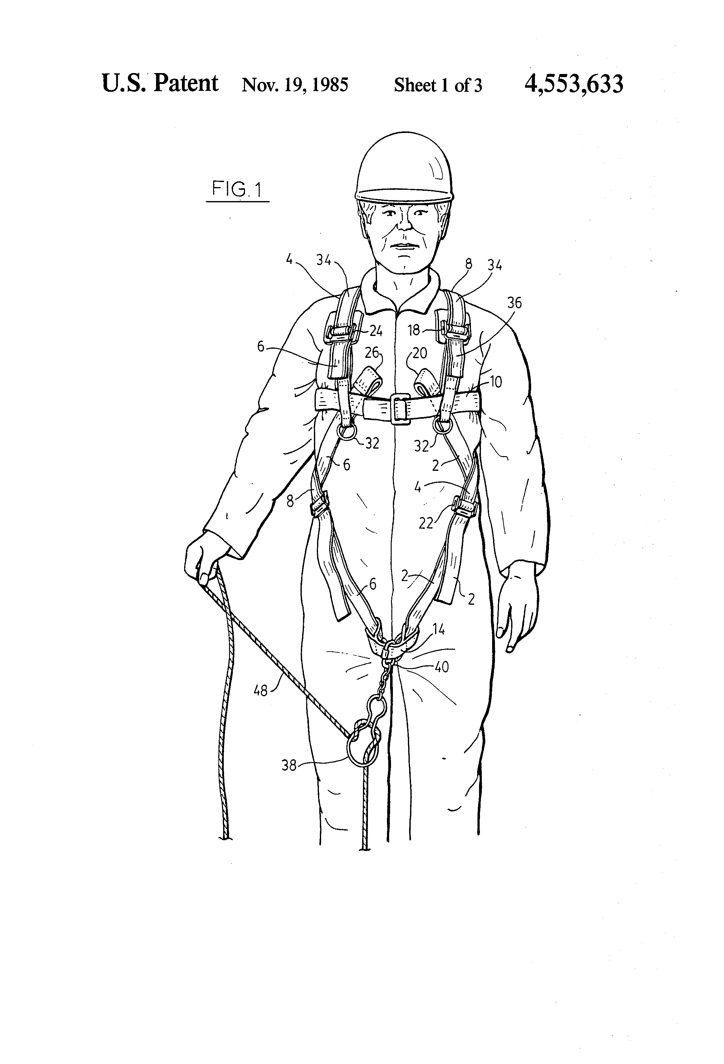 Patent Us4553633 Safety Harness System For Confined