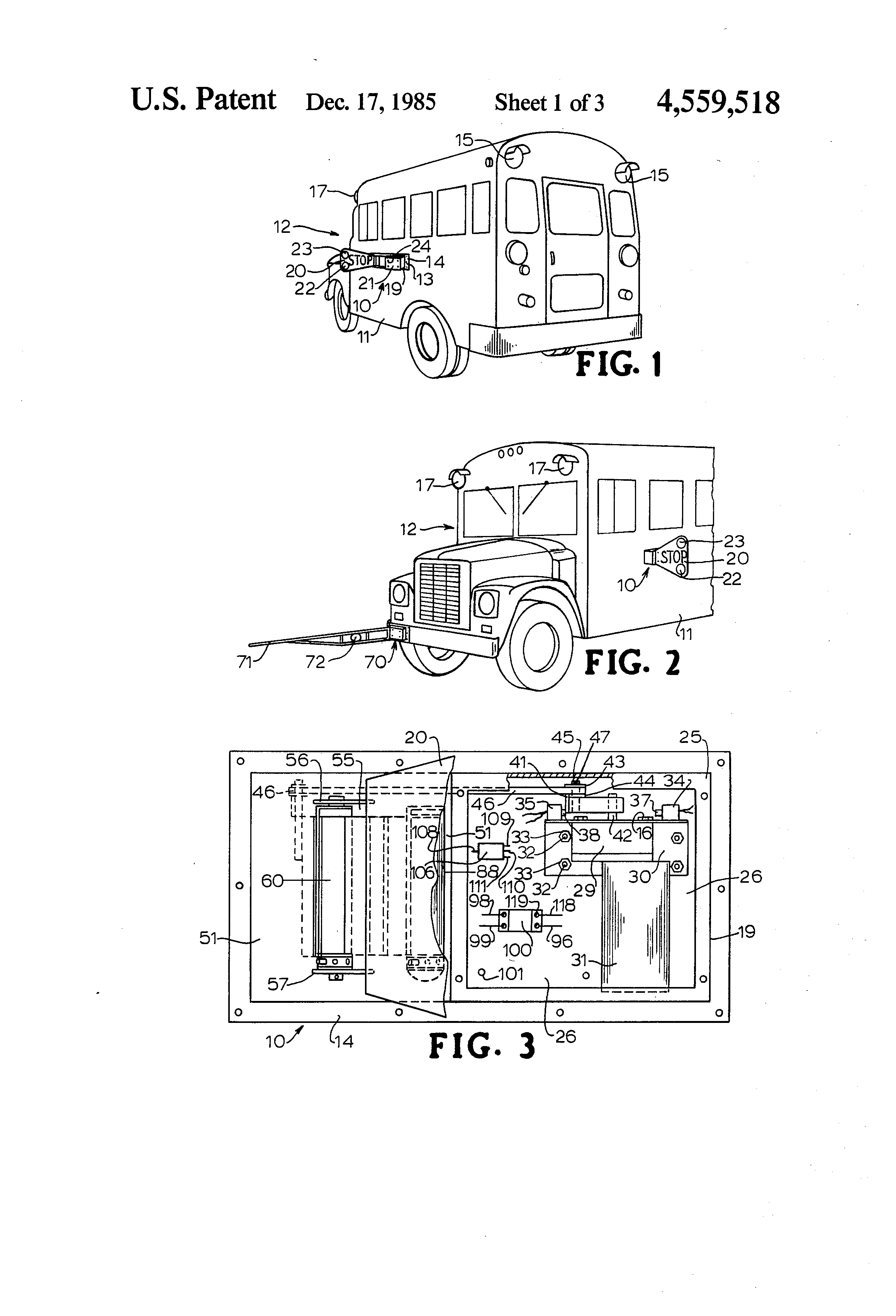 Patent Us4559518 - School Bus Stop Sign And Crossing Arm Apparatus