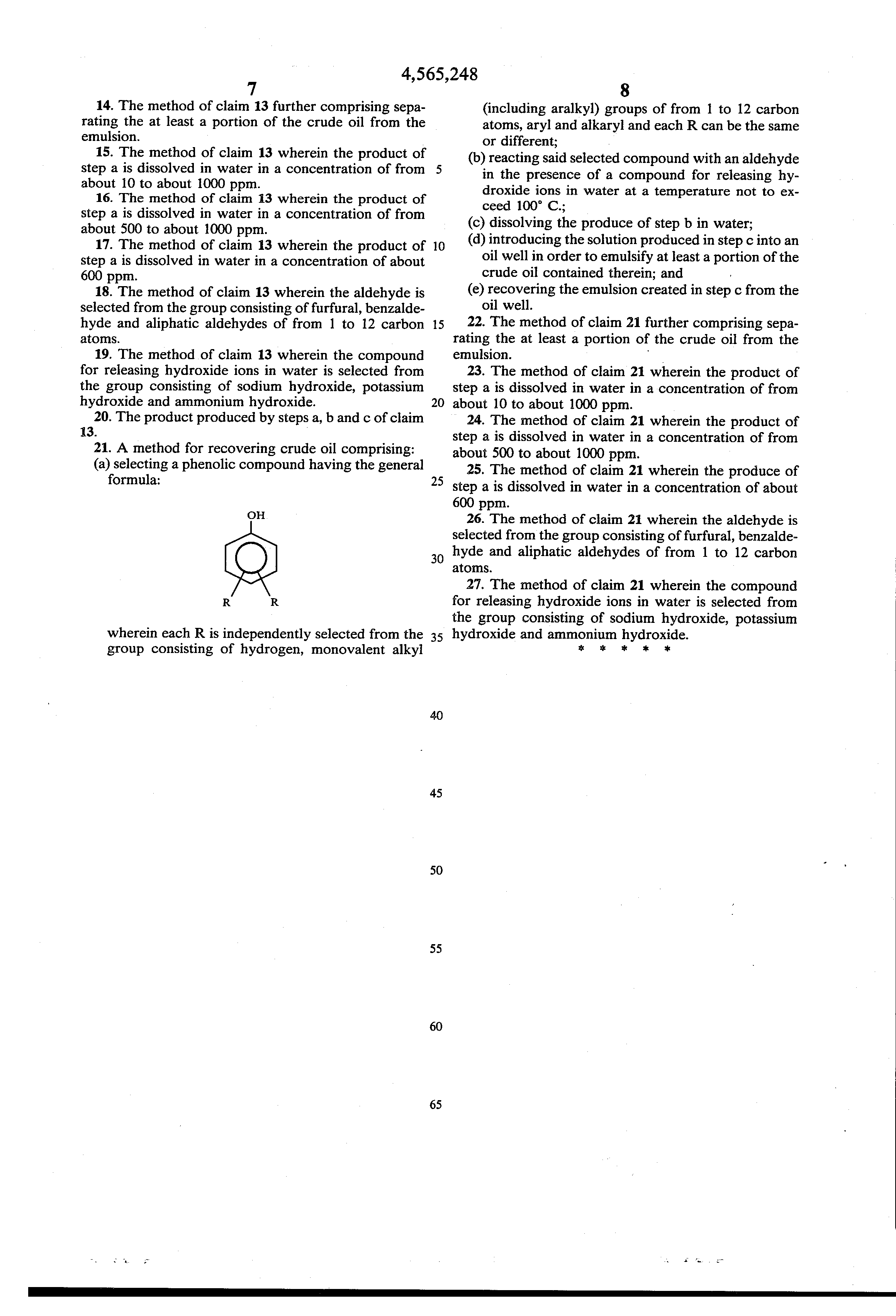 patent us method for producing water soluble resols and  patent drawing