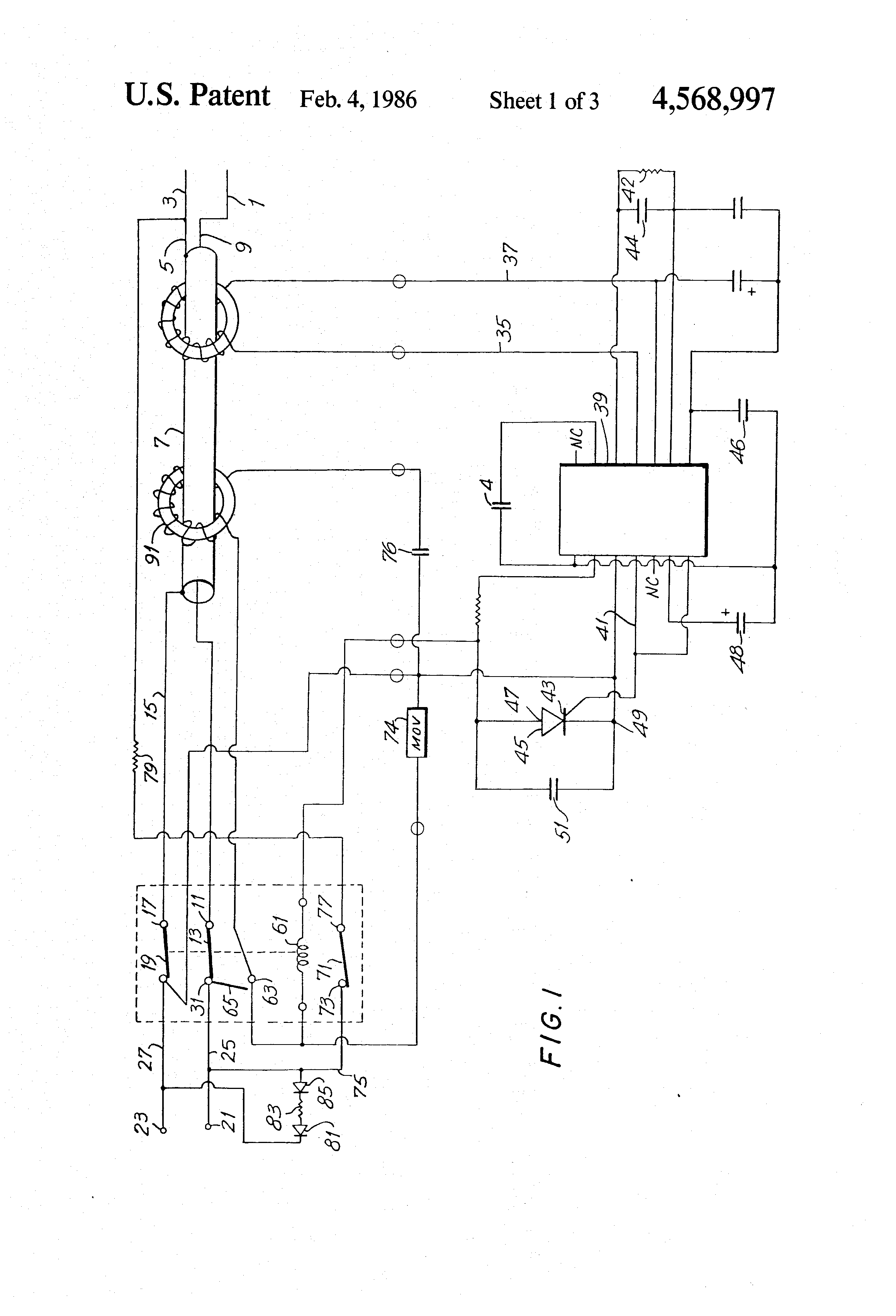 Patent Us4568997 Resettable Circuit Breaker For Use In Ground Fault Interrupter Wiring Diagram Drawing