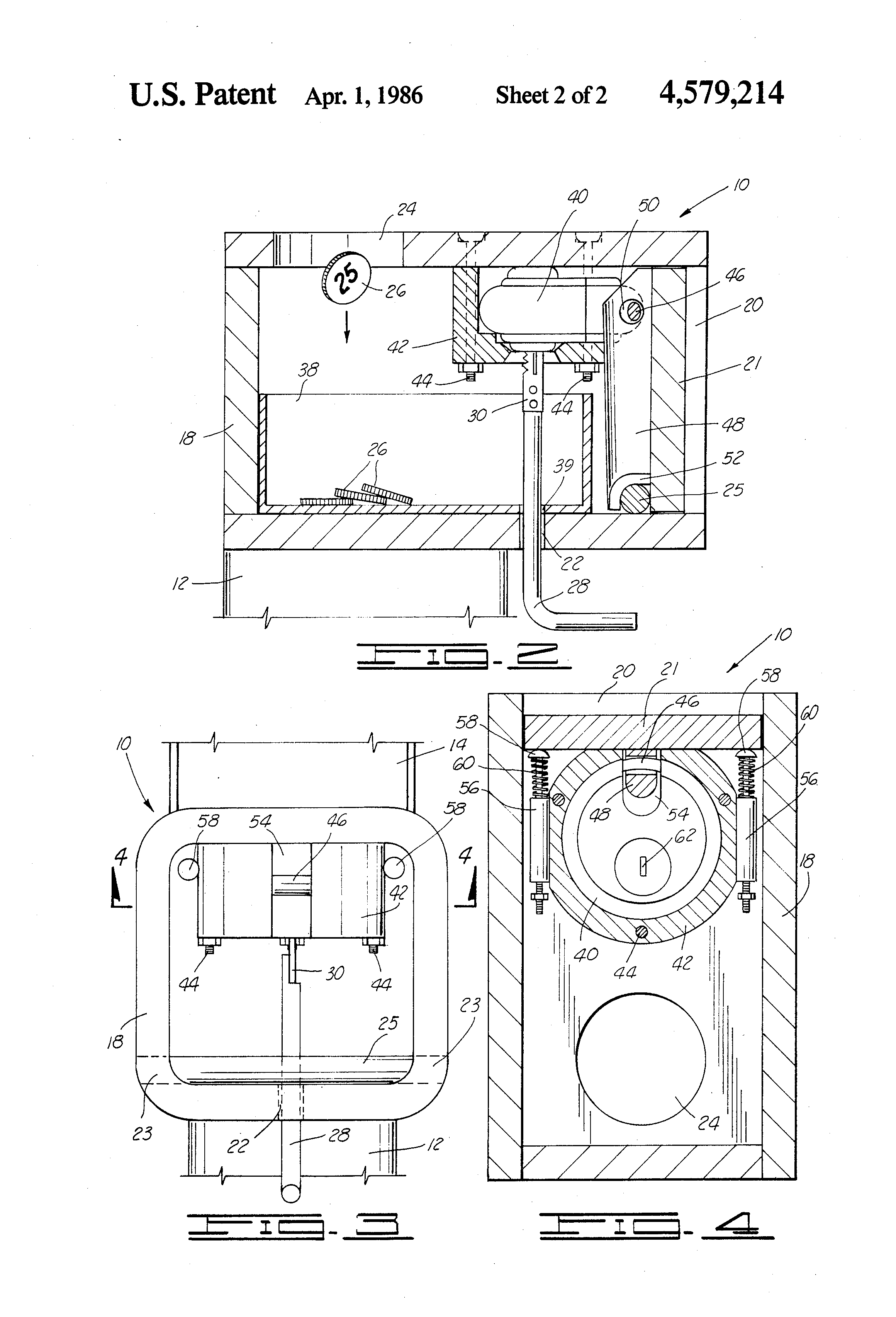 Patent Us4579214 Coin Vault For A Car Wash Or The Like