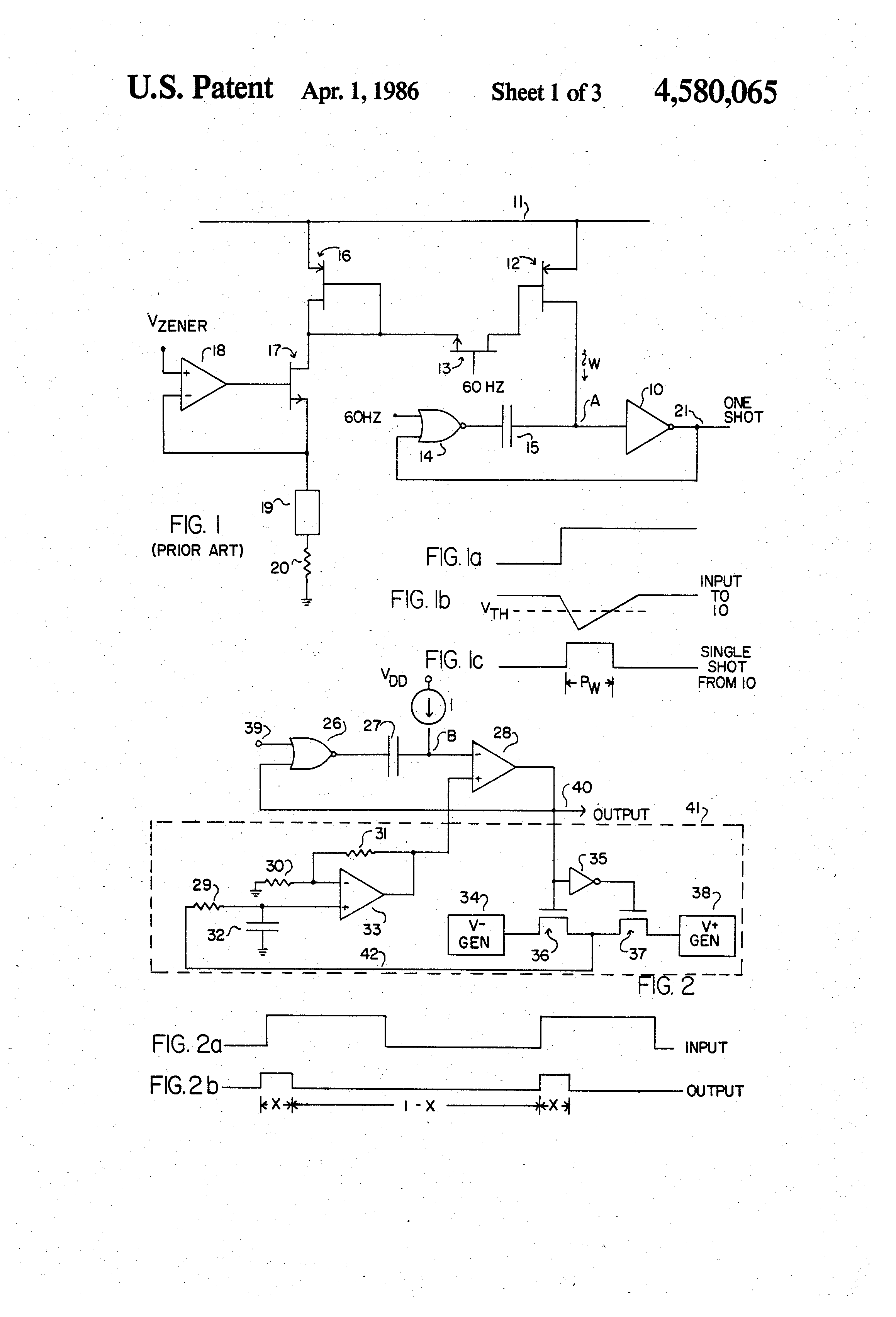 Patent Us4580065 Single Shot Circuit Having Process Independent Often Called A One Multivibrator Is Pulse Generating Drawing
