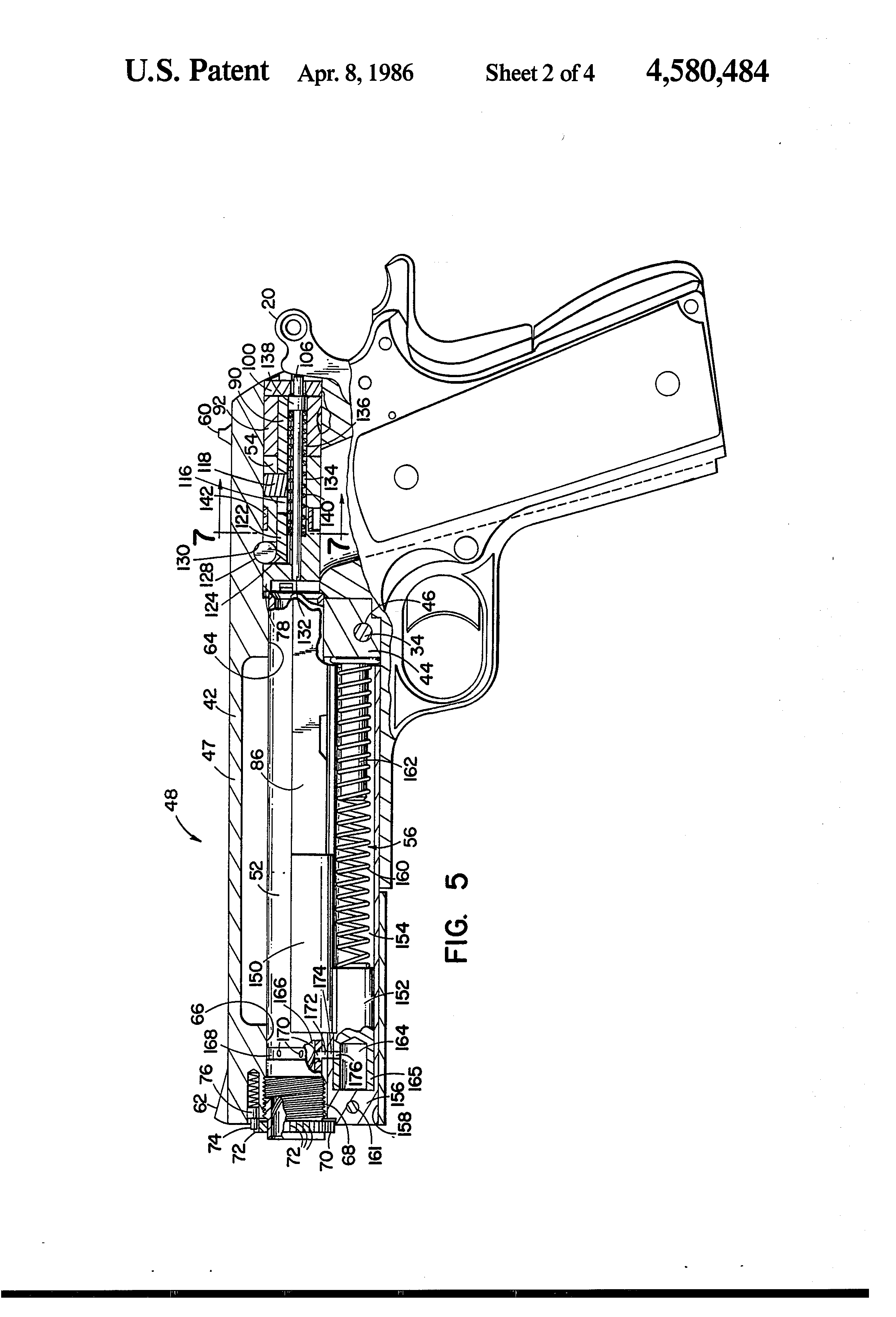 Patent Us4580484 Firearm And Conversion Unit Google Patents Parts Diagram Besides Colt Series 80 1911 Assembly Diagrams On Drawing