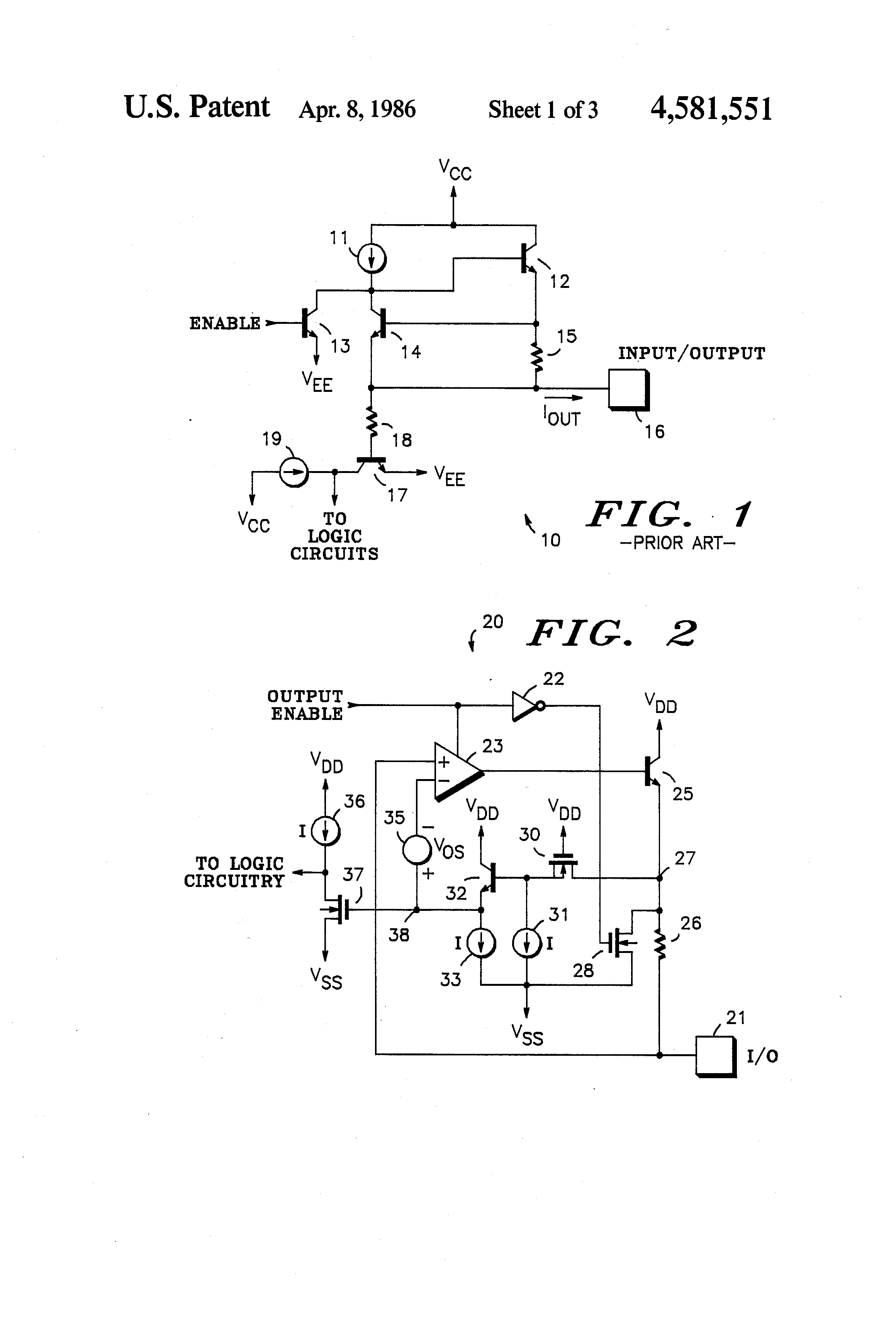 Patent Us4581551 Input Output Circuit For Use With Various And Coupling Bipolar Junction Transistors Electronics Drawing