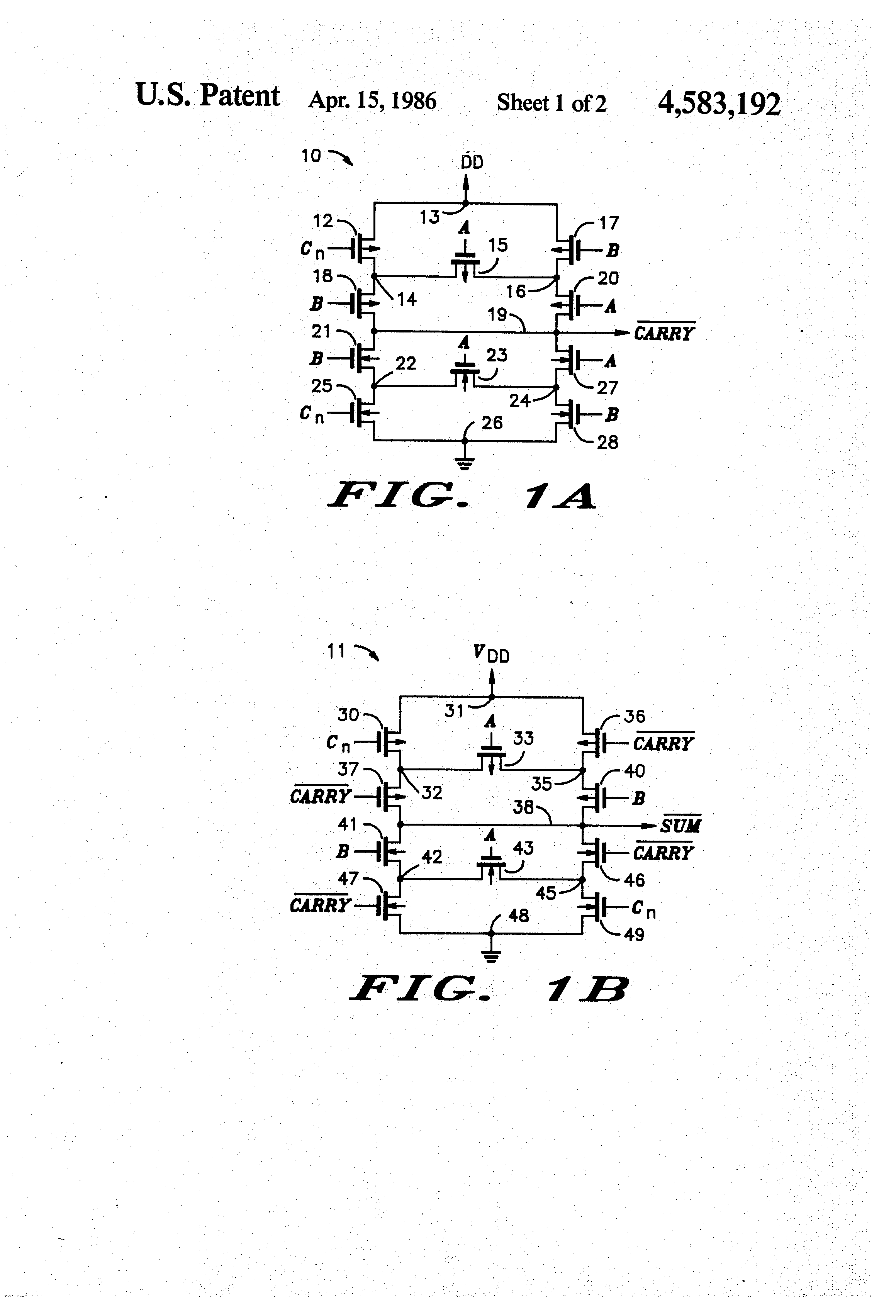 Patent Us4583192 Mos Full Adder Circuit Google Patents Drawing