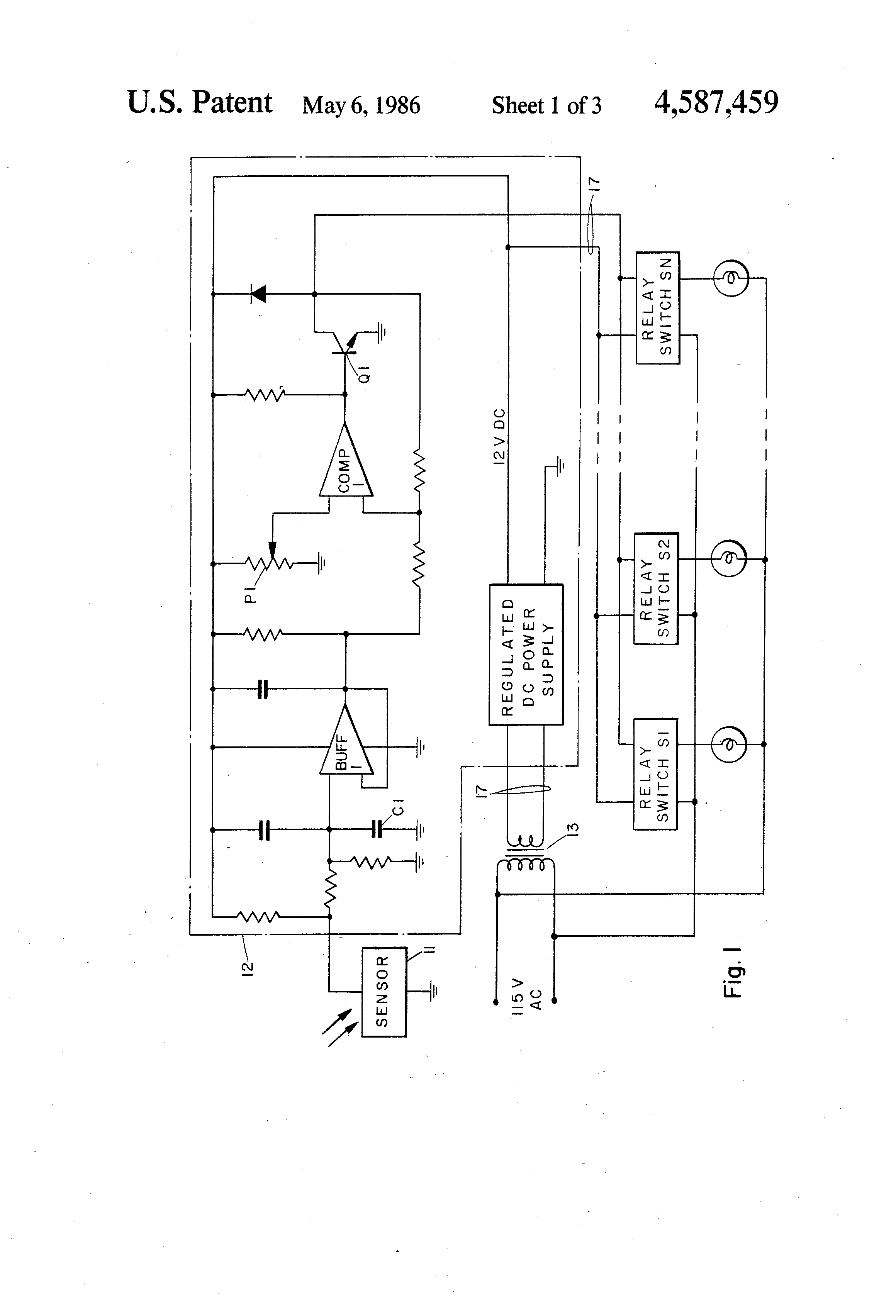 Area Lighting Research Photocell Wiring Diagram 47 Sensor Us4587459 1 Patent Light Sensing Fixture Control System