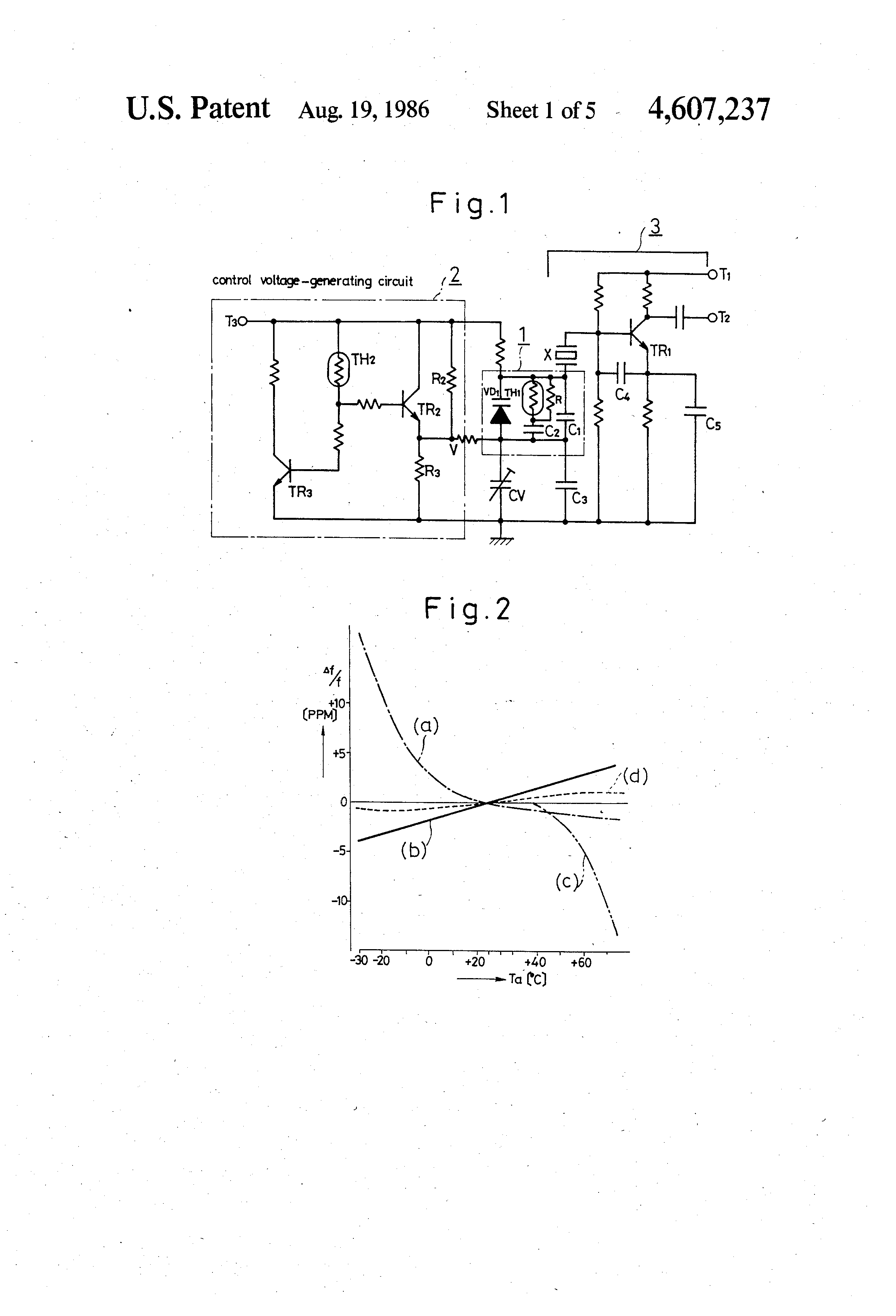 Patent Us4607237 Temperature Compensated Crystal Oscillator Circuit Schematic Diagram Drawing