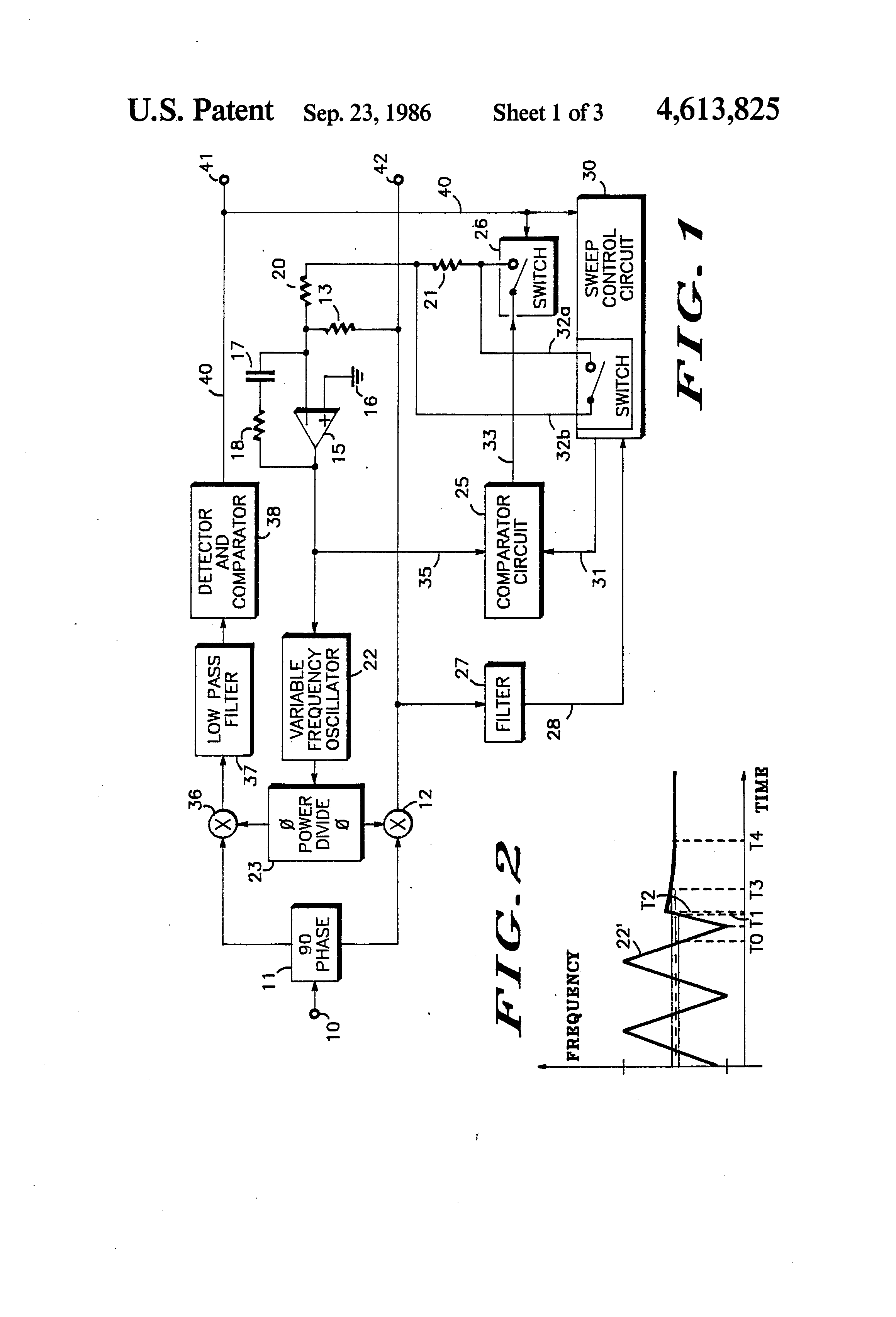 Patent Us4613825 Rapid Acquisition Tracking Pll With Fast And Power Low Voltage Bandpass Filter Circuit Controlcircuit Drawing