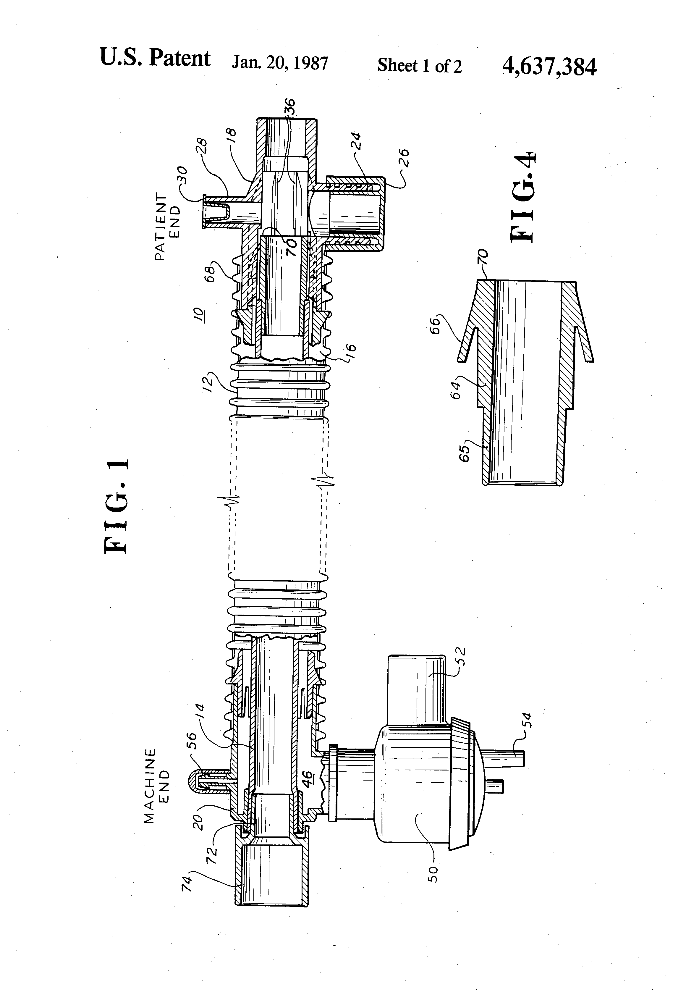 patent us4637384 - coaxial breathing circuit