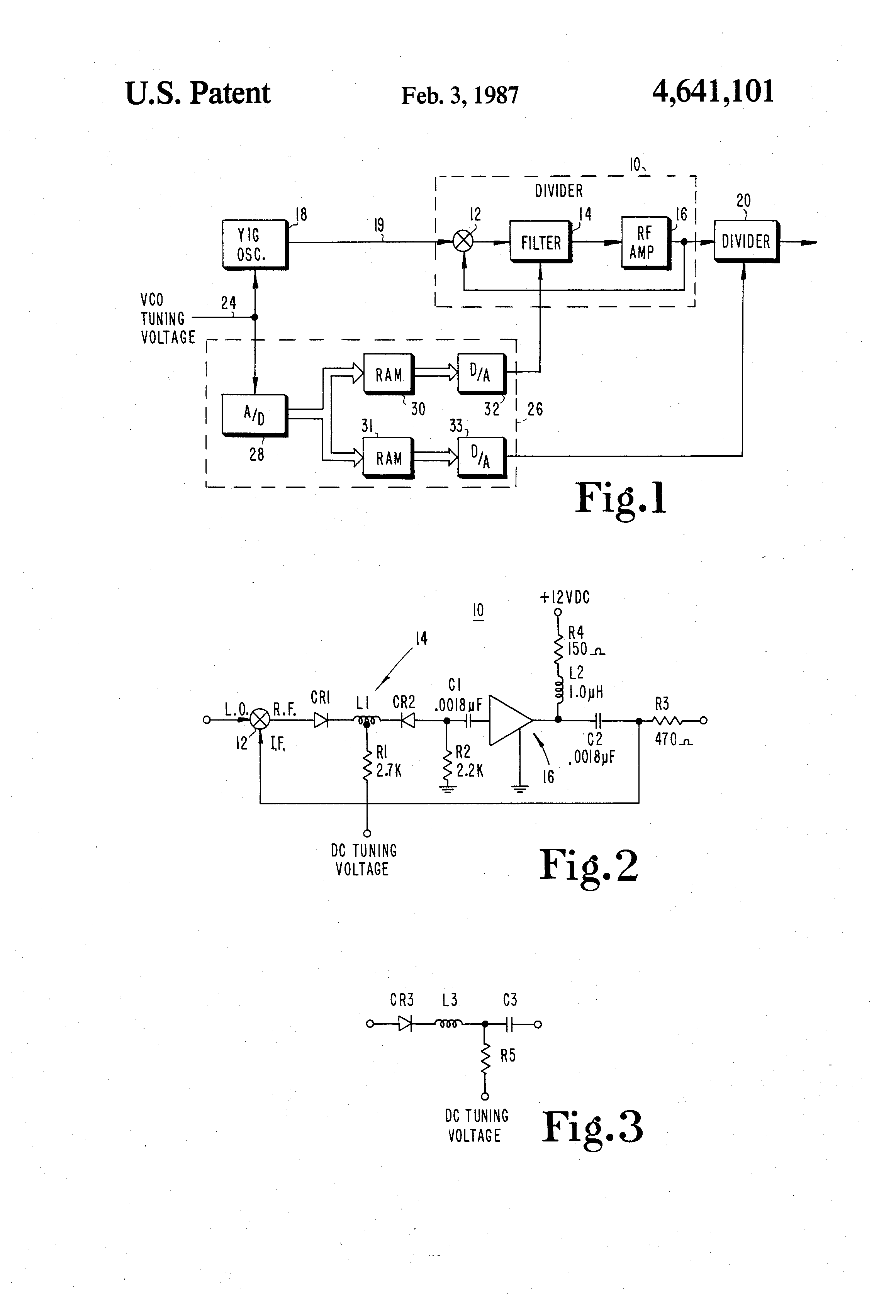Patent Us4641101 Wideband Microwave Regenerative Divider With 4 Band Double Tuned Preselector Drawing