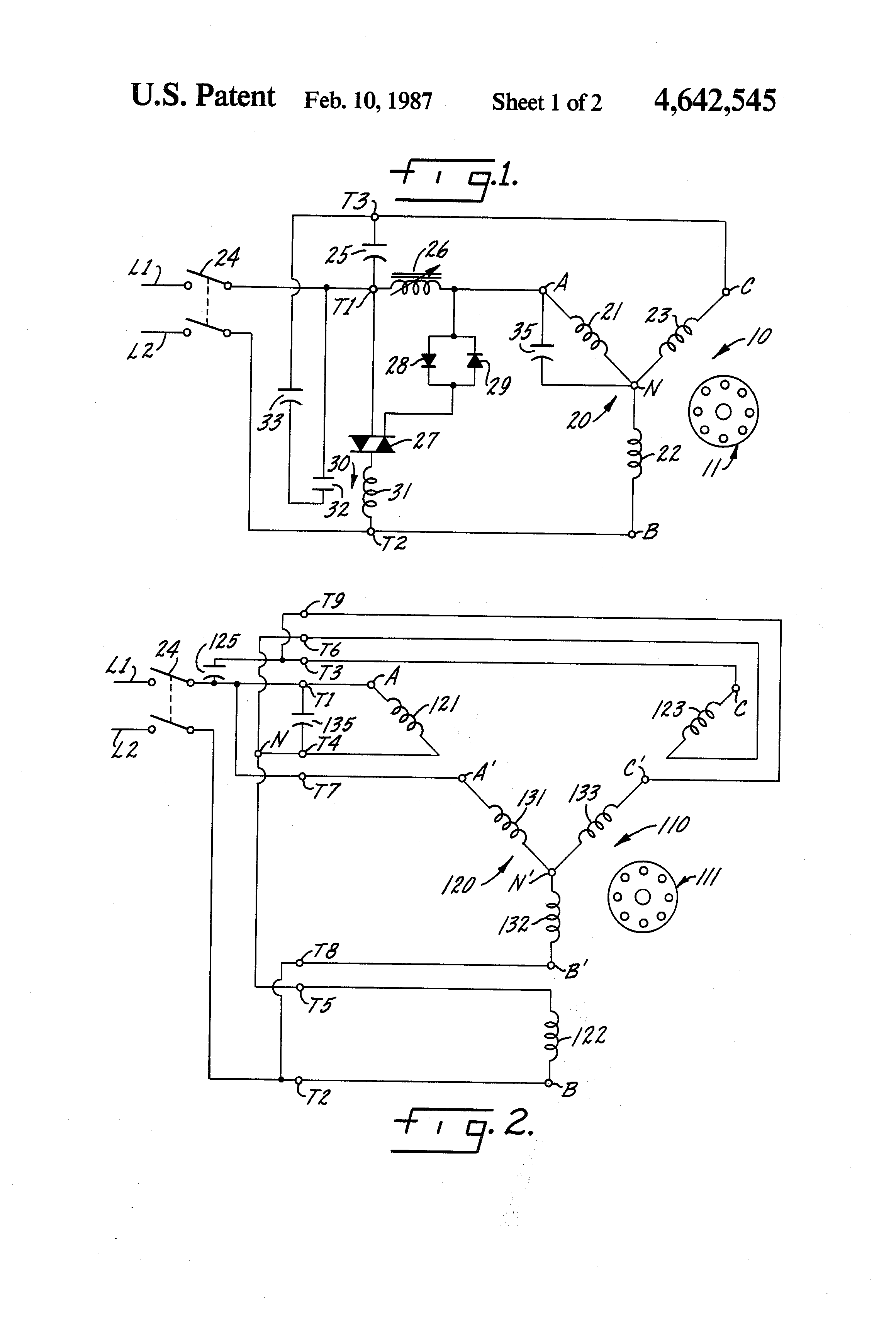 Patent us4642545 static phase conversion circuits for for Can i convert a 3 phase motor to single phase