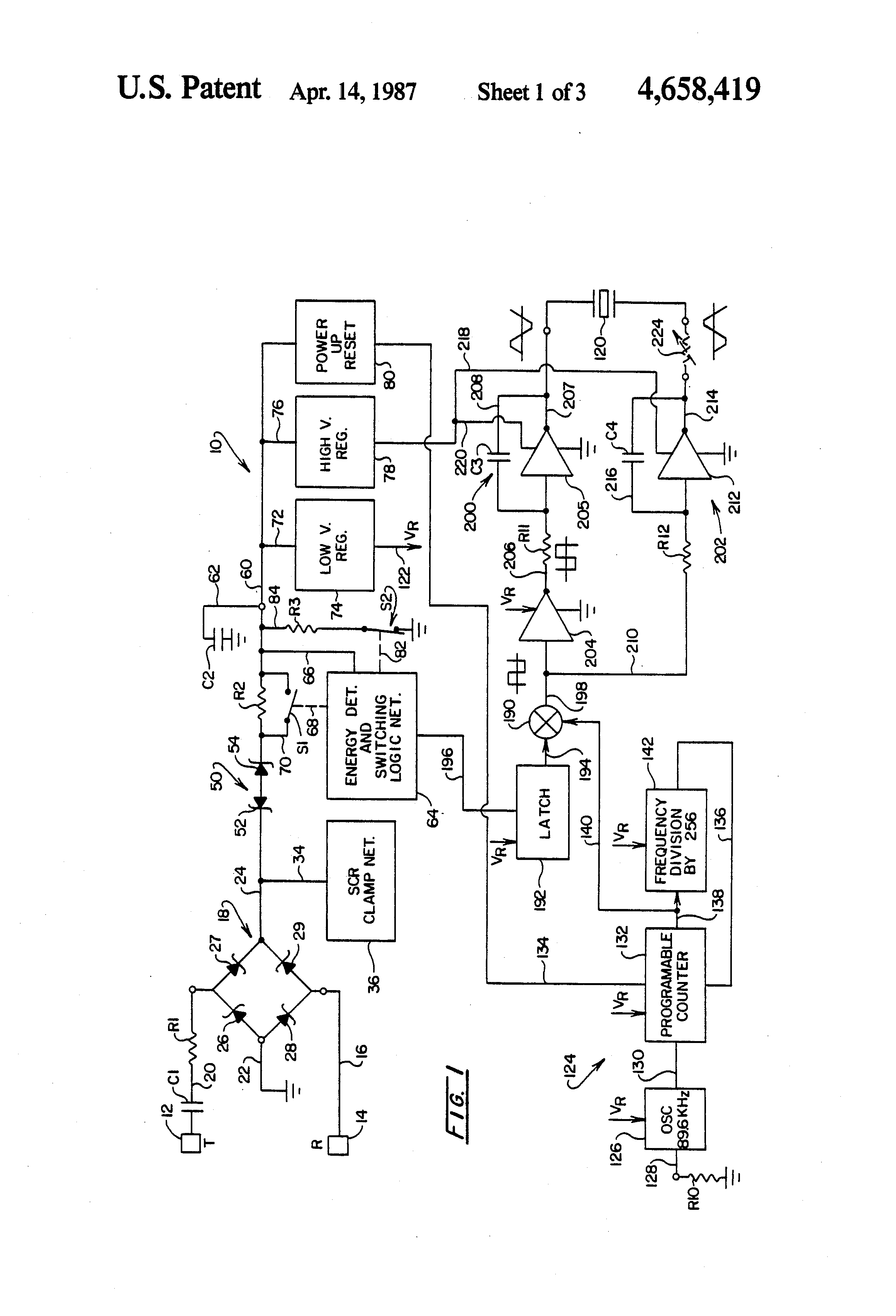 Us4658419 Telephone Ringer Circuit Schematics Electronic Patent Drawing