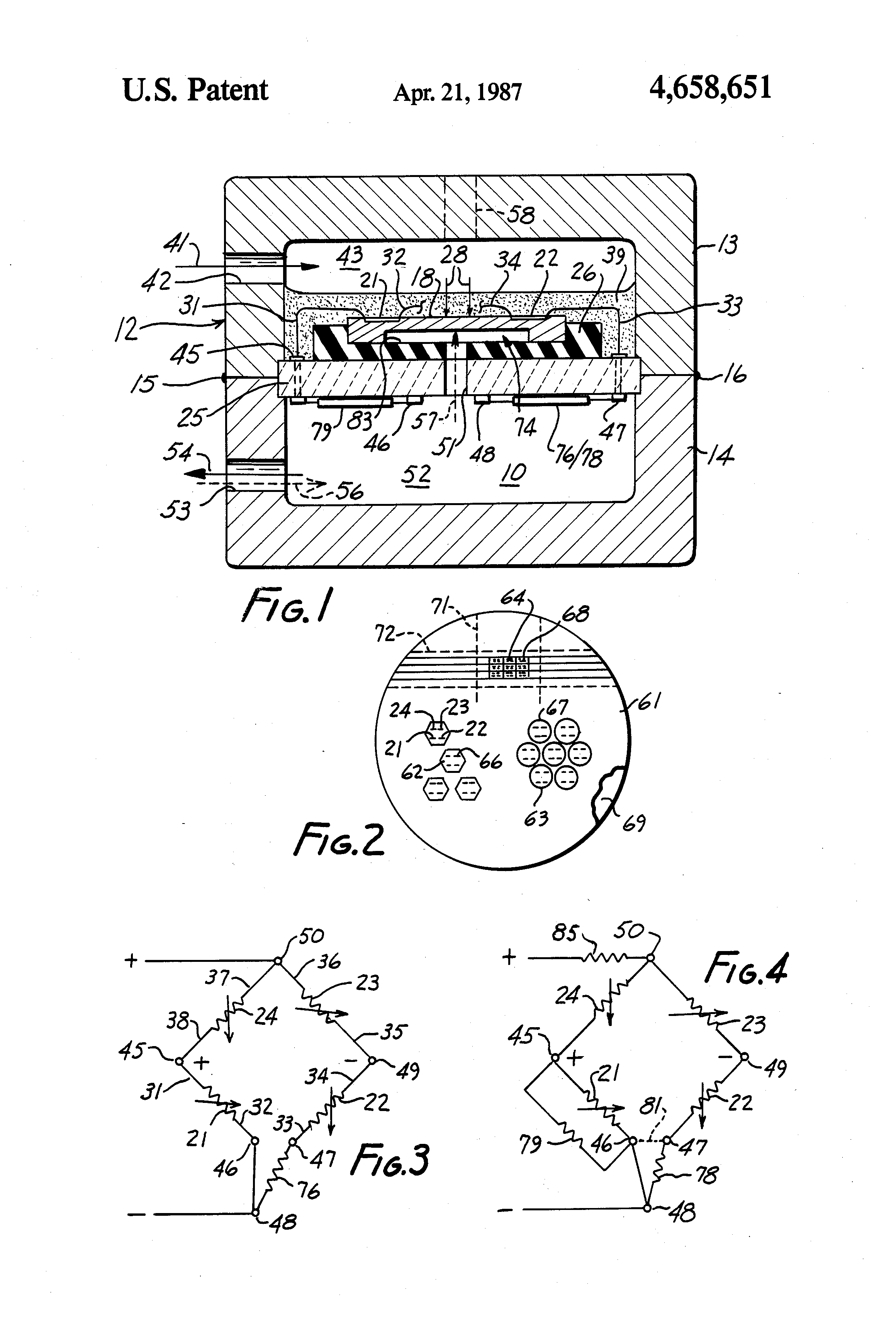 Patent Us4658651 Wheatstone Bridge Type Transducers With Reduced Wiring Diagram Drawing