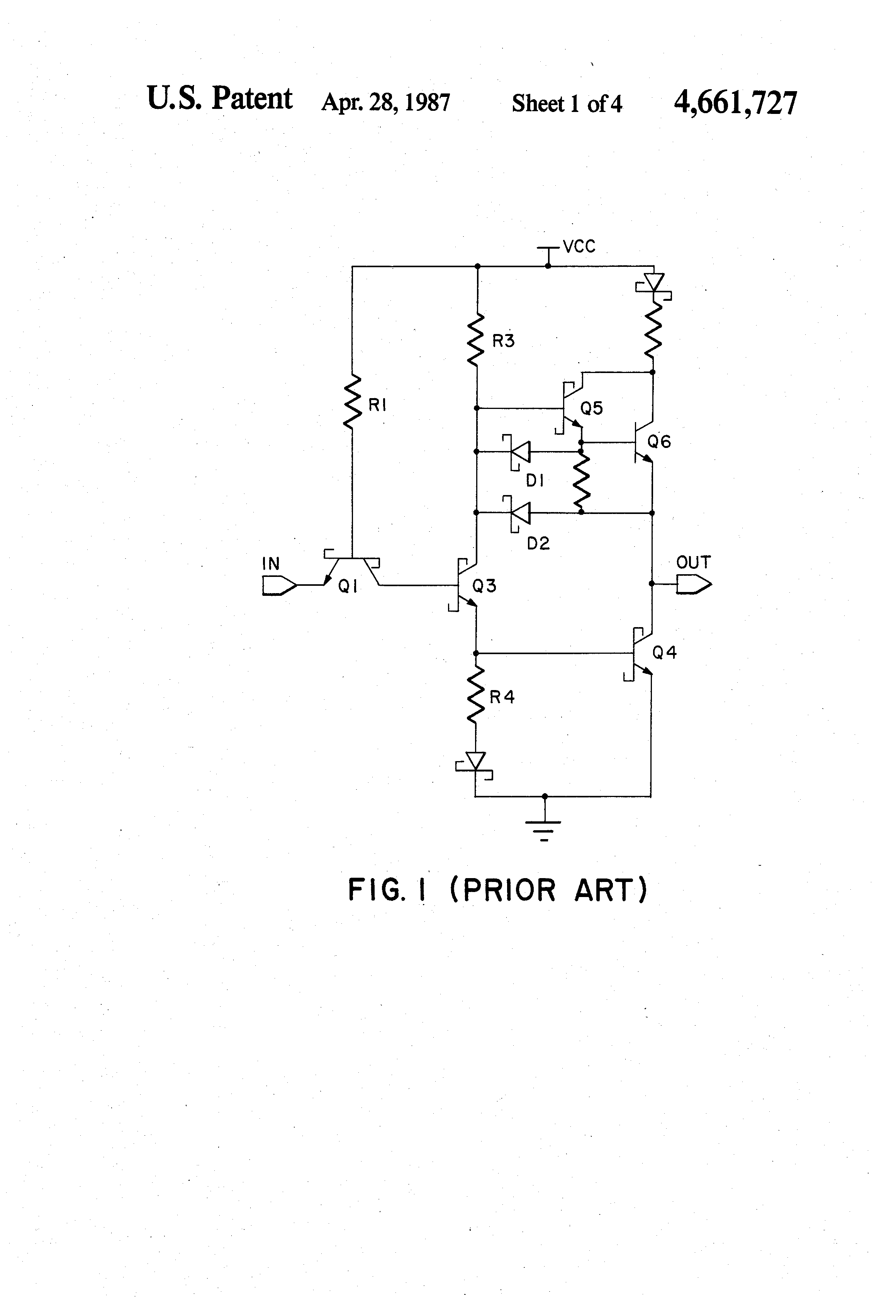Patent Us4661727 Multiple Phase Splitter Ttl Output Circuit With This Is A Transistor Logic And Gate Using Drawing