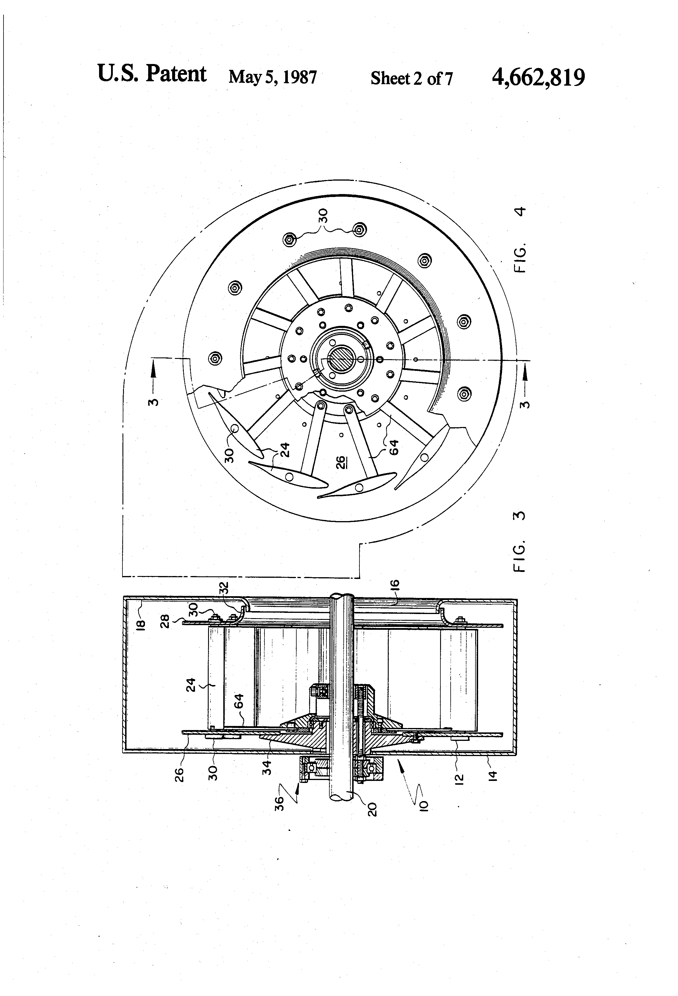 Patent US4662819 Centrifugal fan with variable blade pitch    #414141