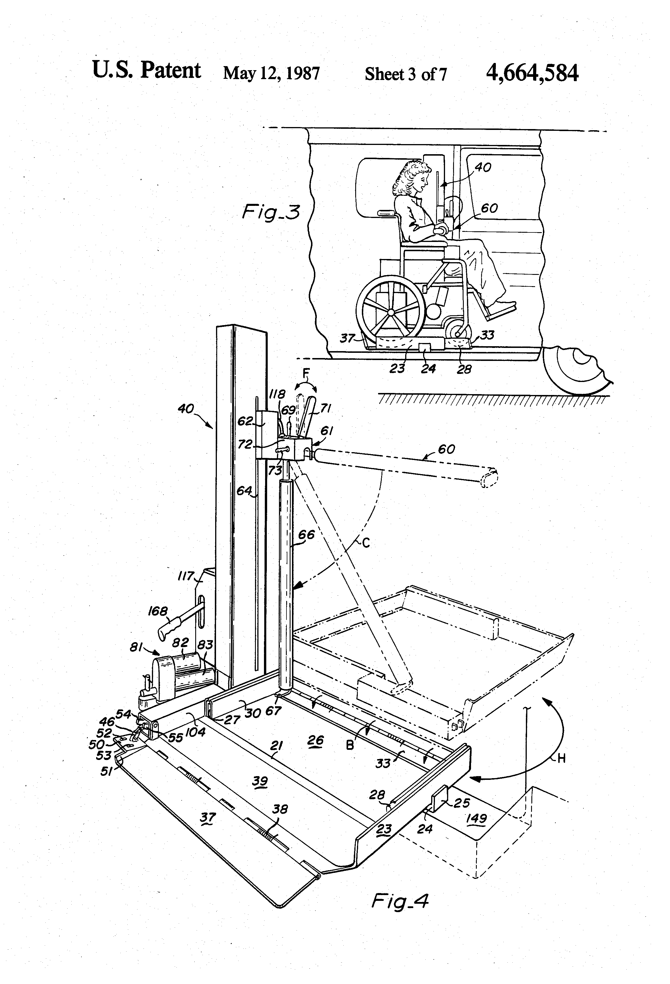 patent us4664584 - rotary wheelchair lift
