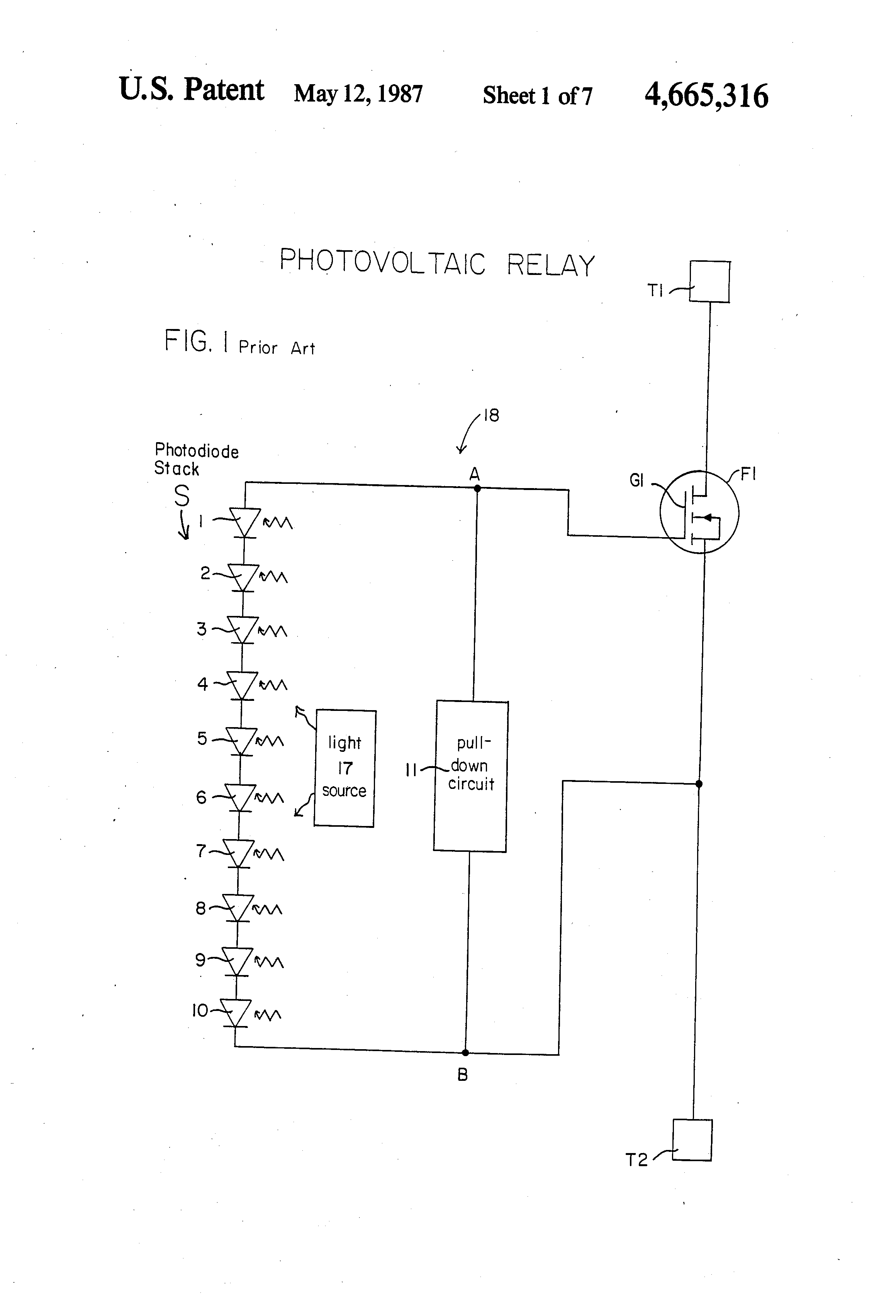 Brevet Us4665316 Photovoltaic Relay Switch Google Brevets Reed Circuit Patent Drawing