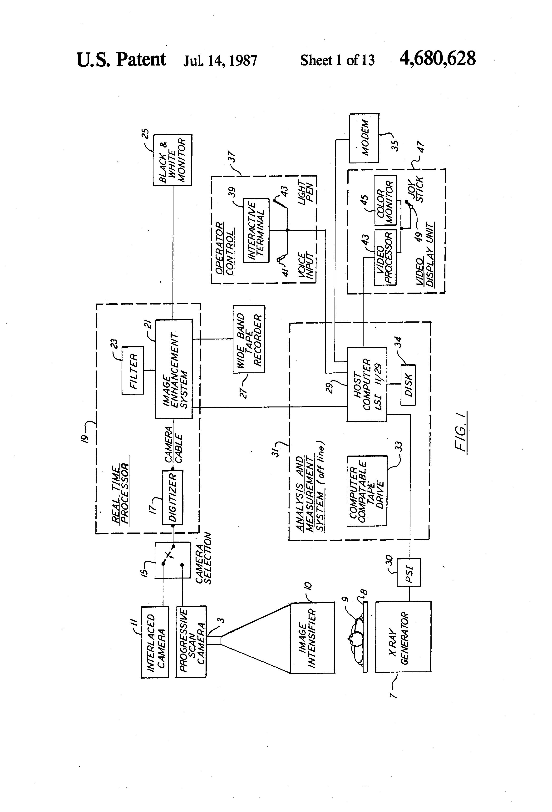 Patent Us4680628 Realtime Digital Diagnostic Image Processing Progressive Crystal Set To Regenerative Receiver Schematic Drawing