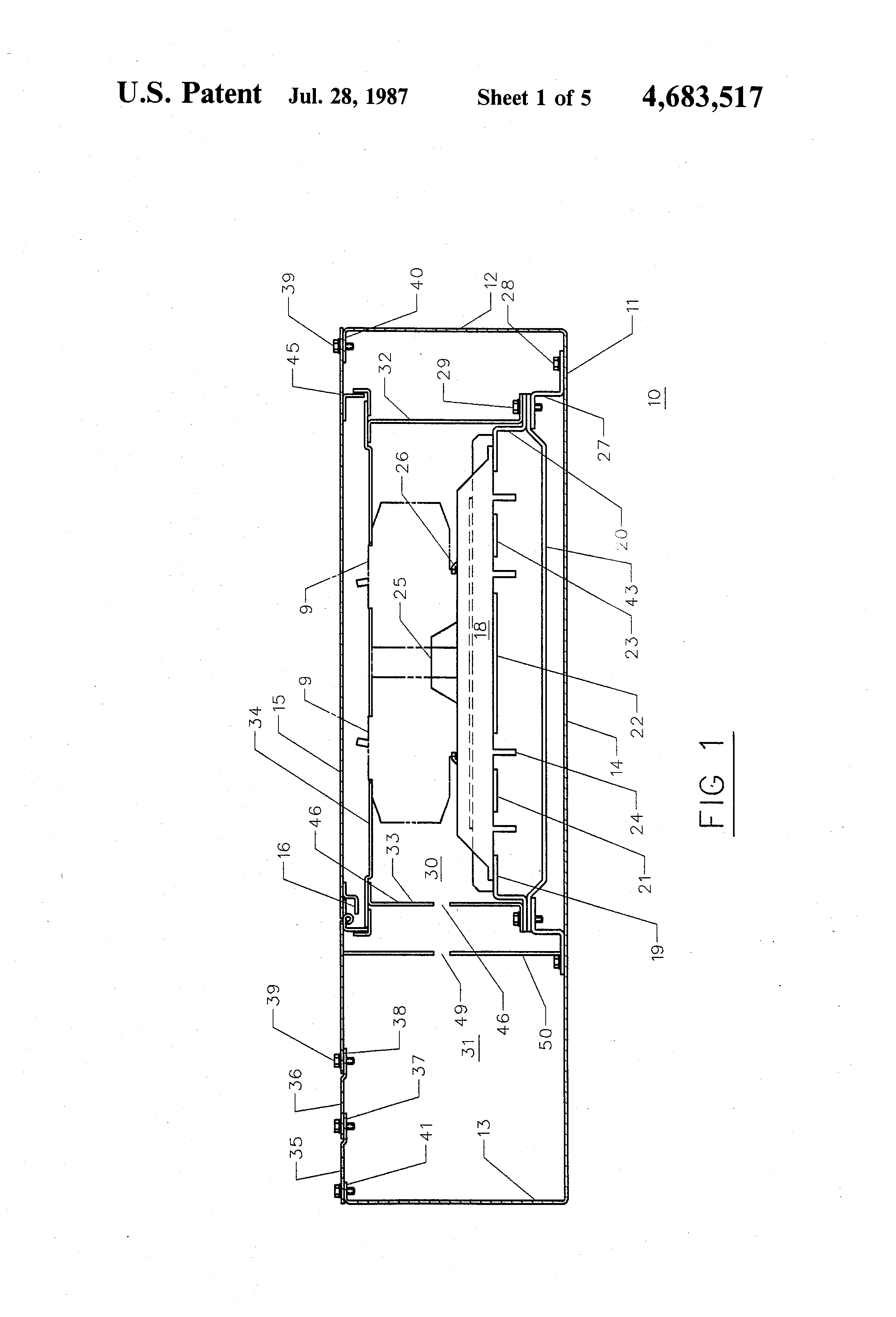 patent us4683517 - integrated lighting panelboard and wiring gutter assembly