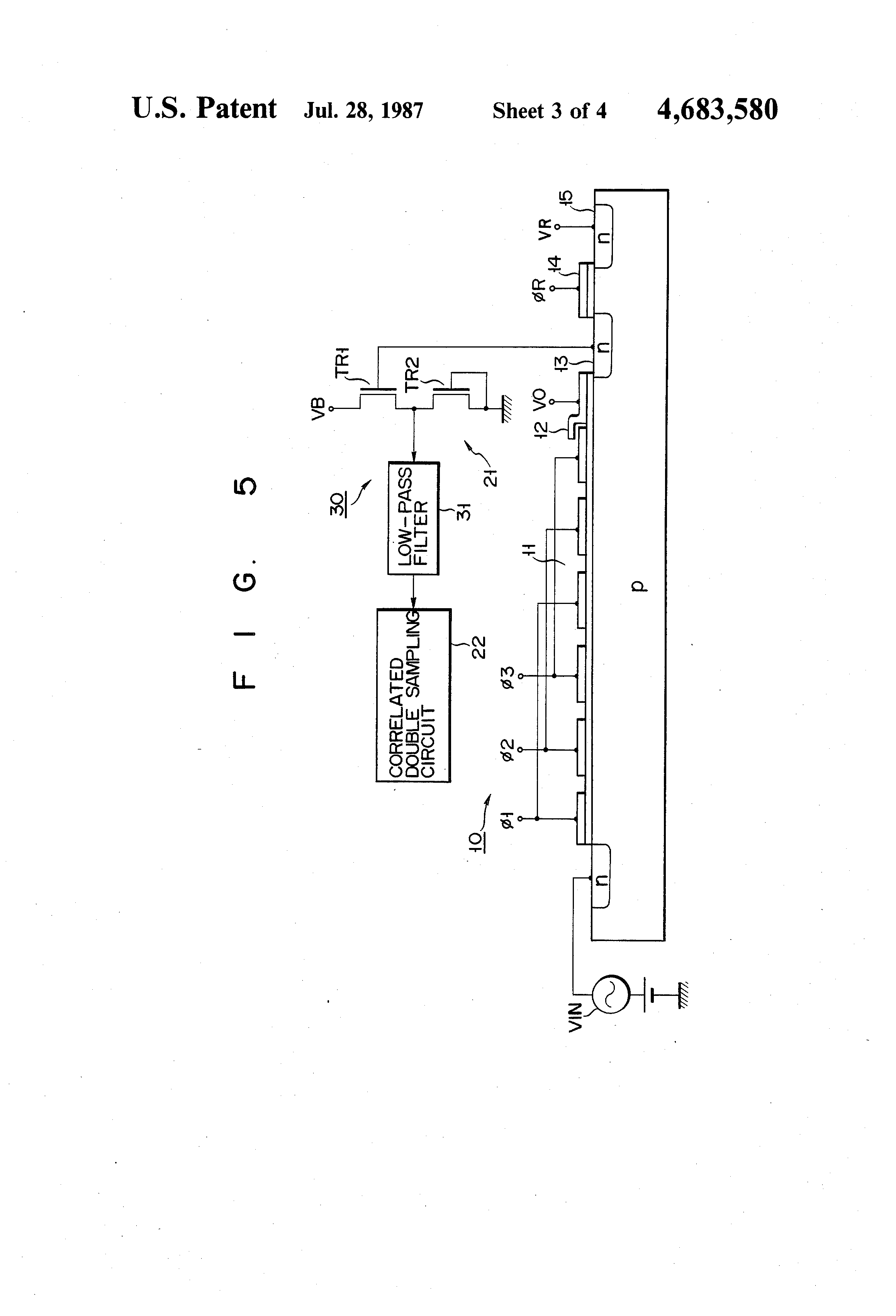Patent Us4683580 Ccd Output Signal Processing Circuit For Use In Order Low Pass Filter Is Shown The Figure This Drawing