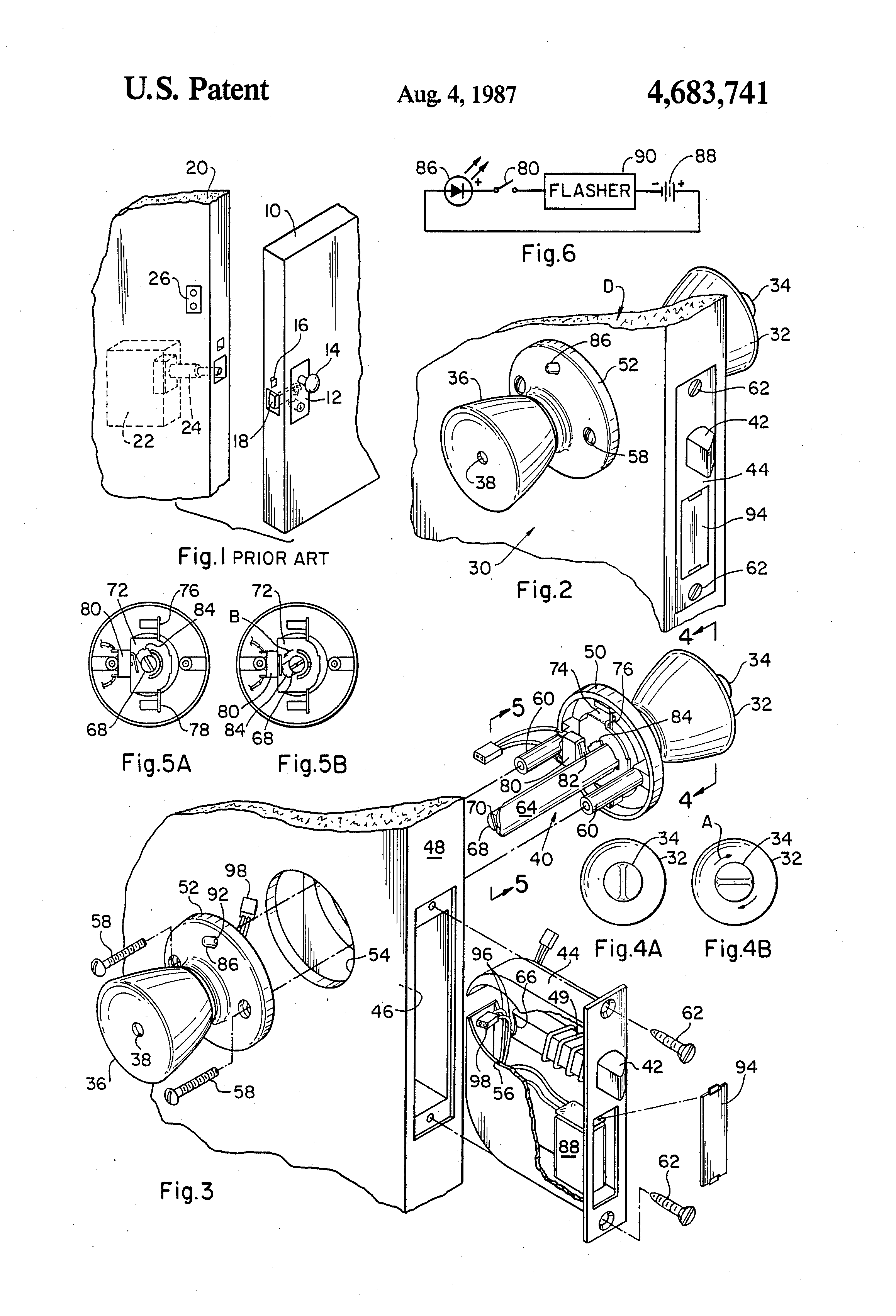 Patent Us4683741 Light Signal For Door Knob And Lock