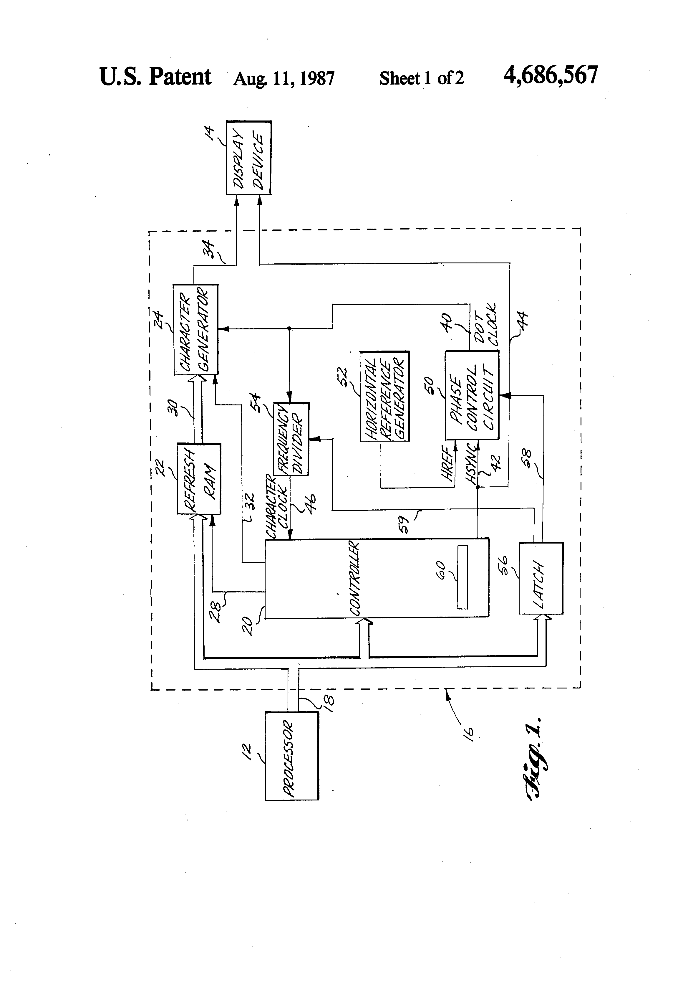 Patent US4686567 - Timing circuit for varying the horizontal