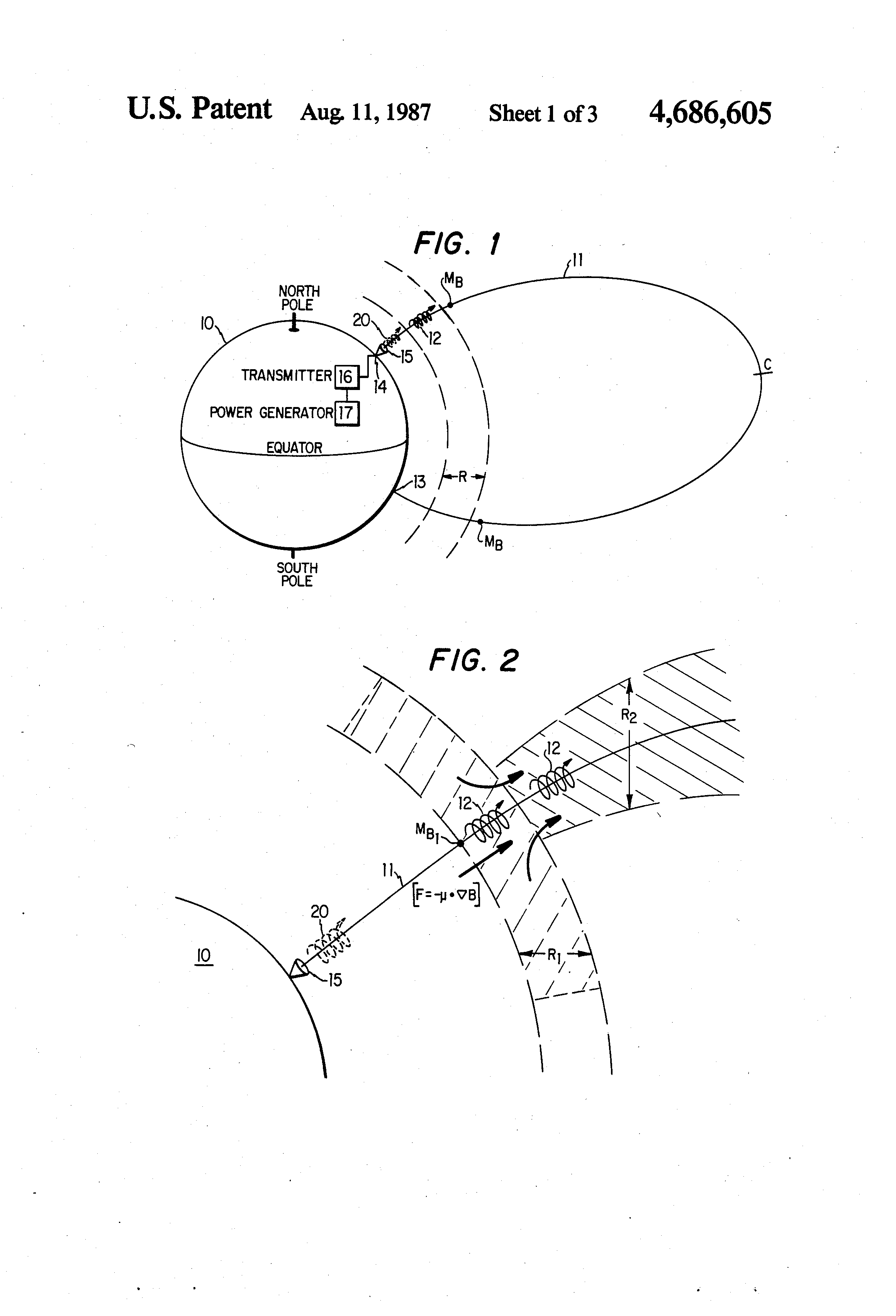 Method and apparatus for altering a region in the earth's atmosphere, ionosphere, and/or magnetosphere - Patent US 4,686,605 US4686605-1