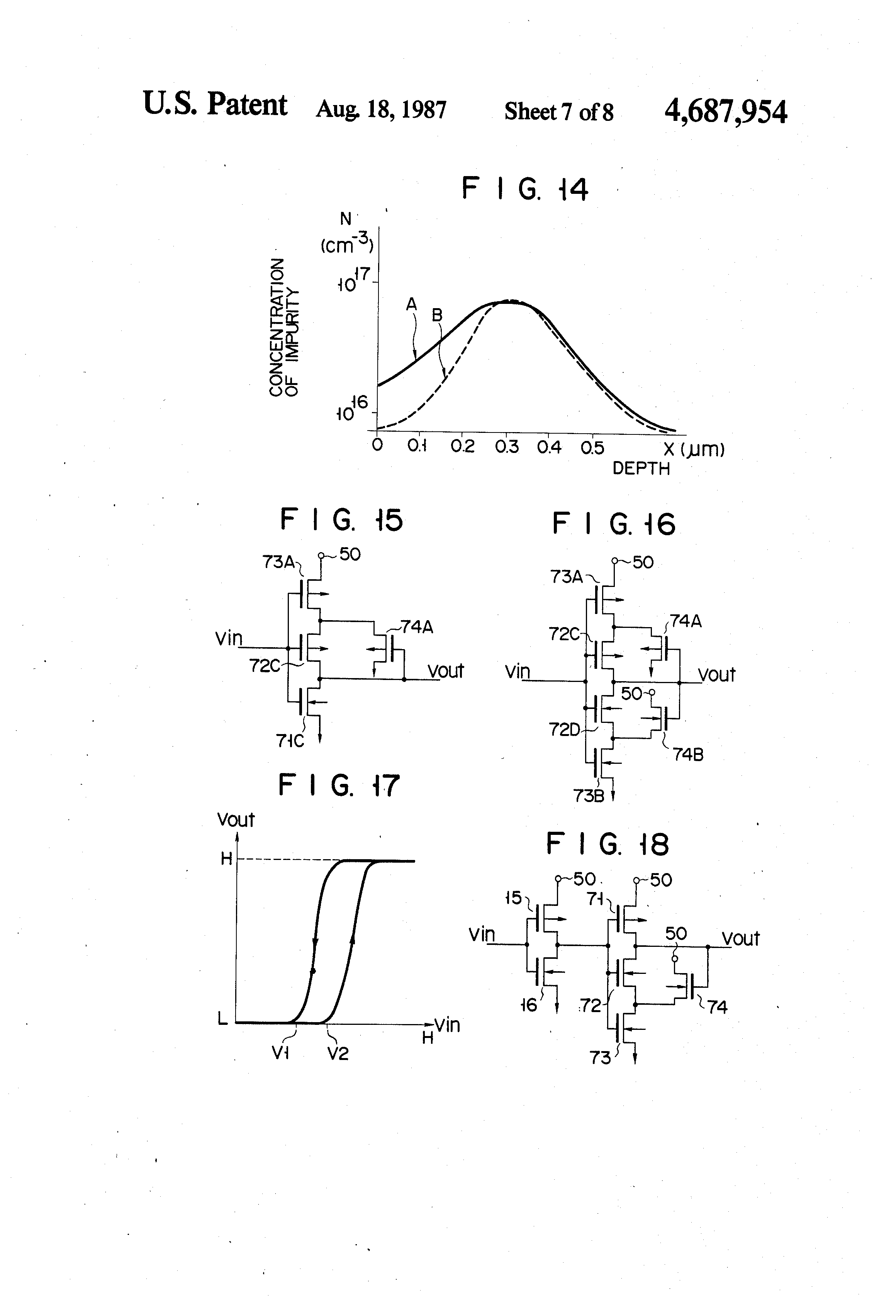 patent us4687954 cmos hysteresis circuit enable switch or patent drawing