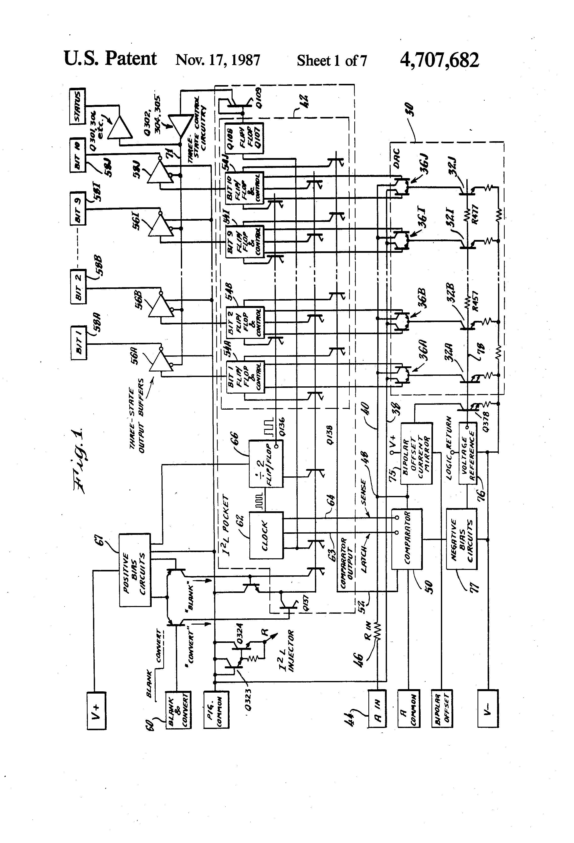 Patent Us4707682 A To D Converter Of The Successive Approximation This Digitaltoanalog Dac Integrated Circuit Is Designed Drawing