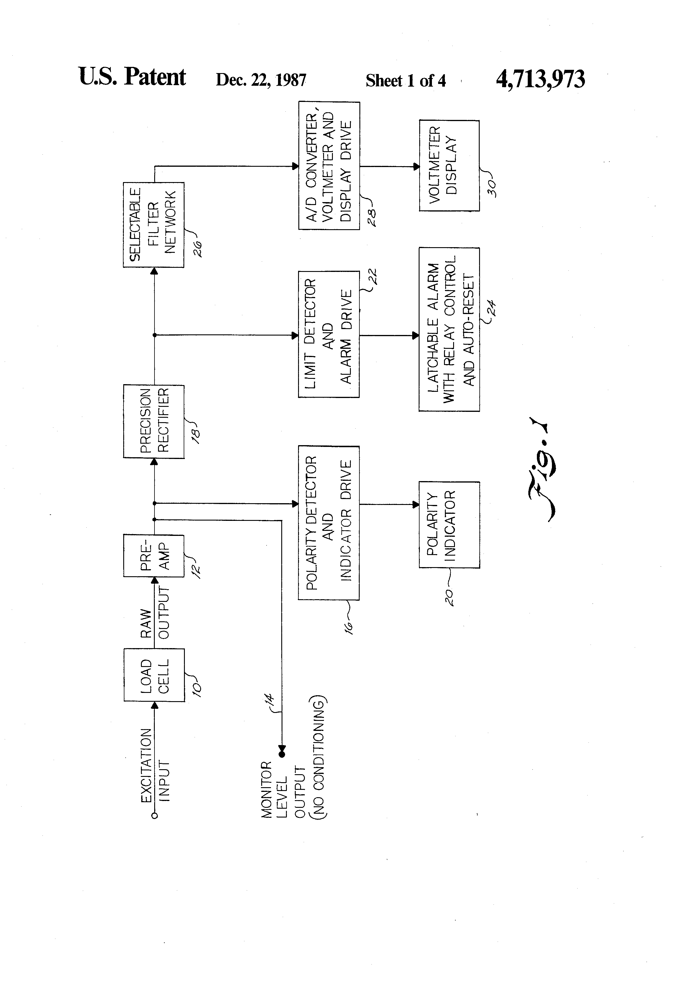 Patent Us4713973 Indicator With Staged Data Processing Google Variable Resistor Circuit Diagram Moreover Voltmeter Ammeter Schematic Drawing