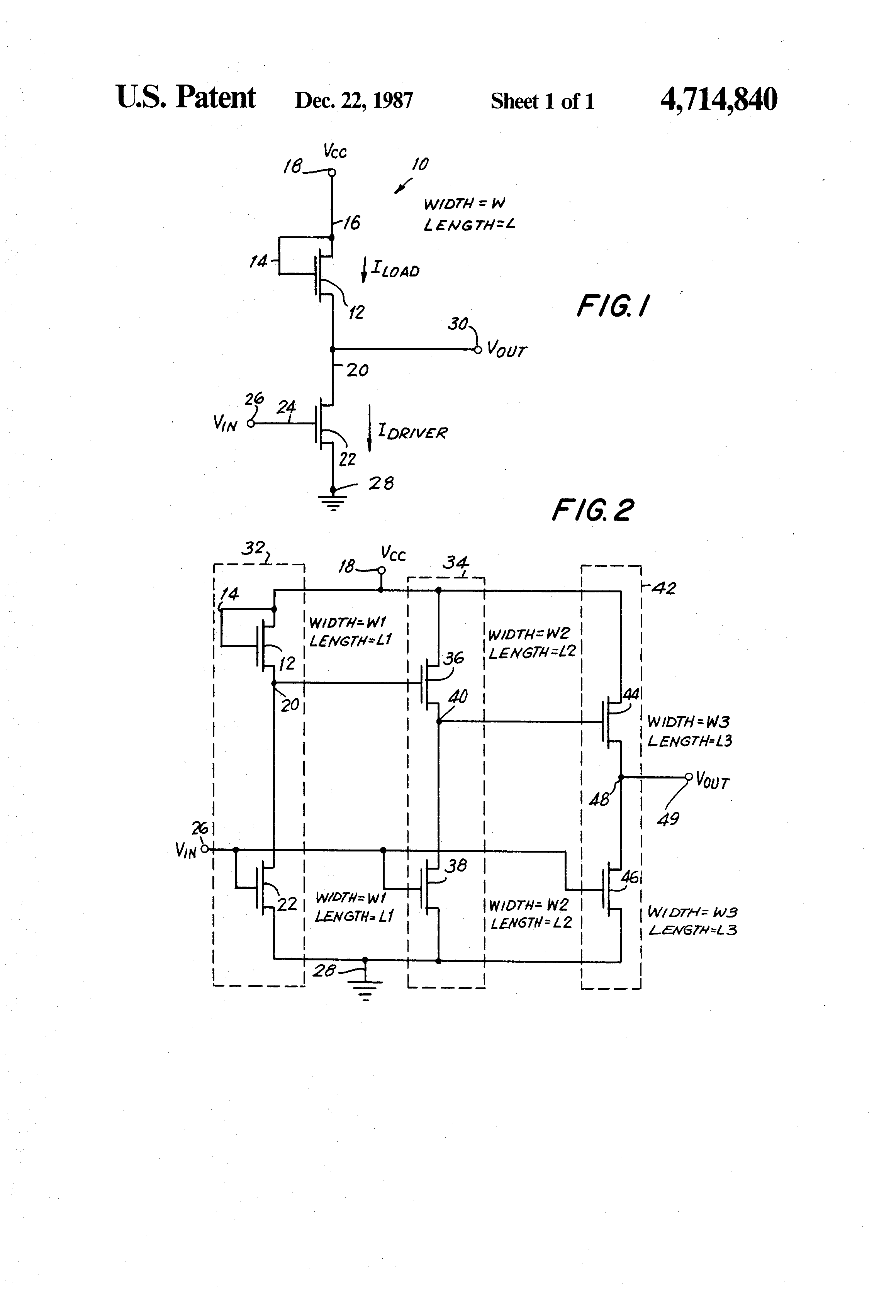 Patent Us4714840 Mos Transistor Circuits Having Matched Channel Cmos Gate Circuitry Inverter Circuit Using Igfets Drawing