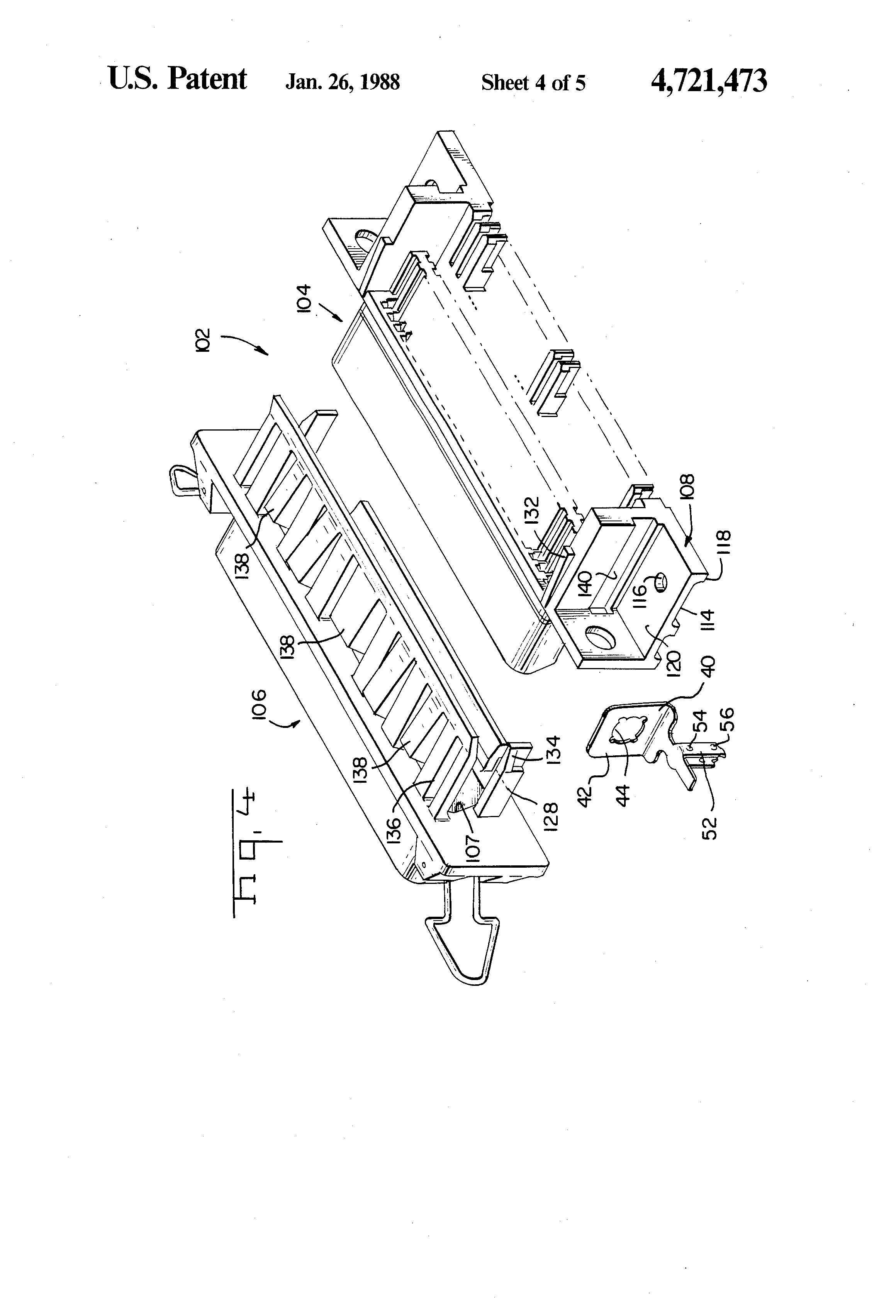 patent us4721473 - retention feature for printed circuit board mounted connectors