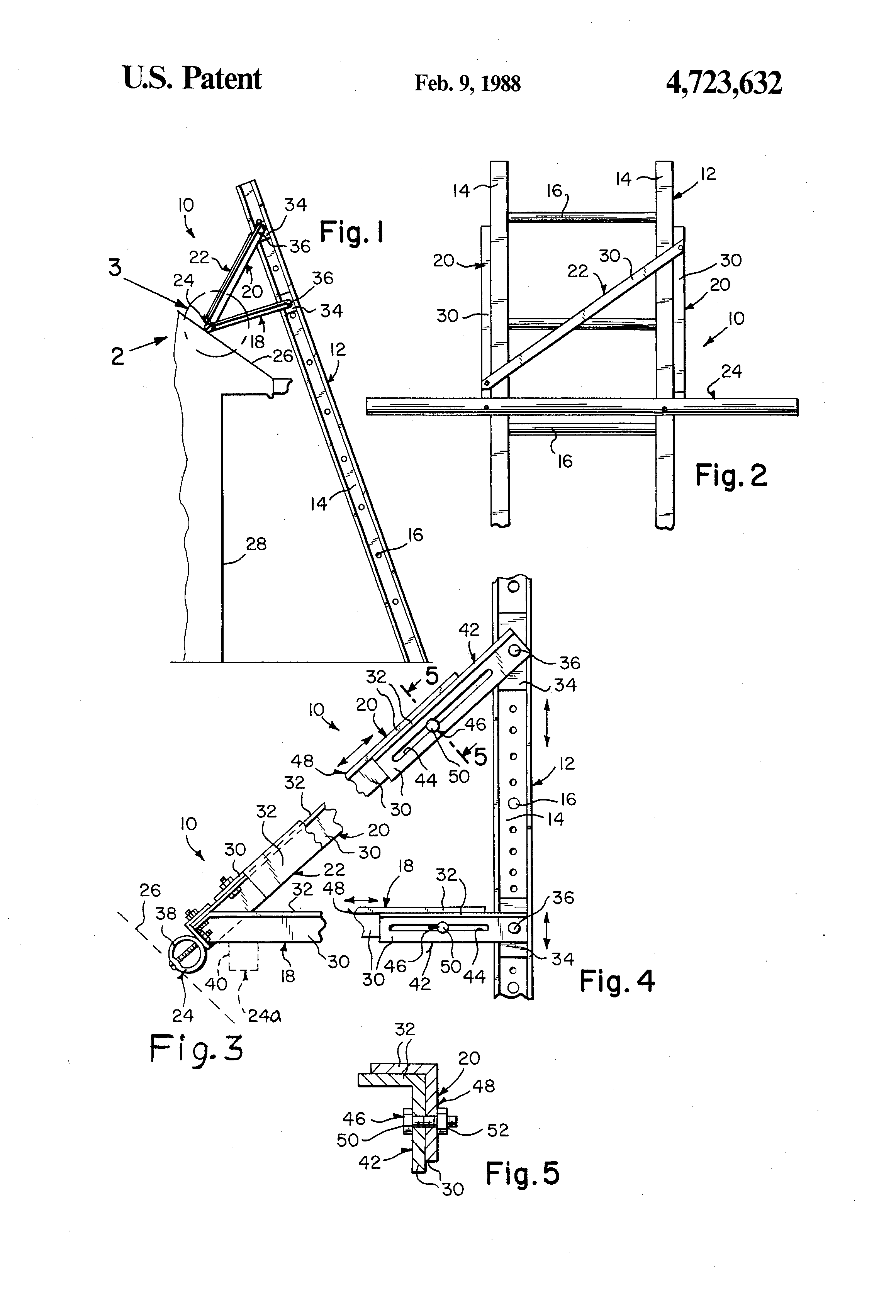 Patent Us4723632 Extension Ladder Roof Support