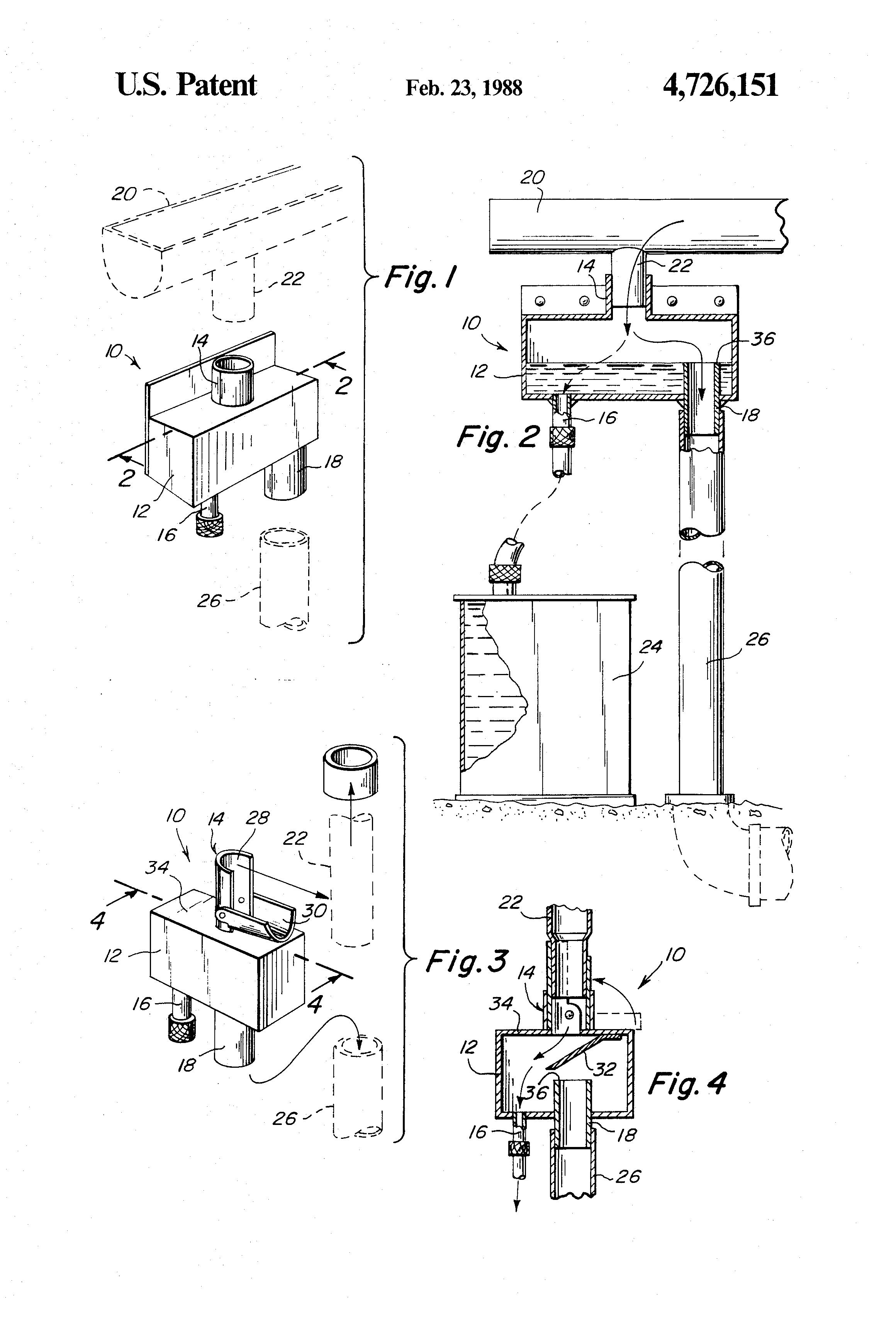 Patent Us4726151 Rain Water Leader Gutter Adaptor