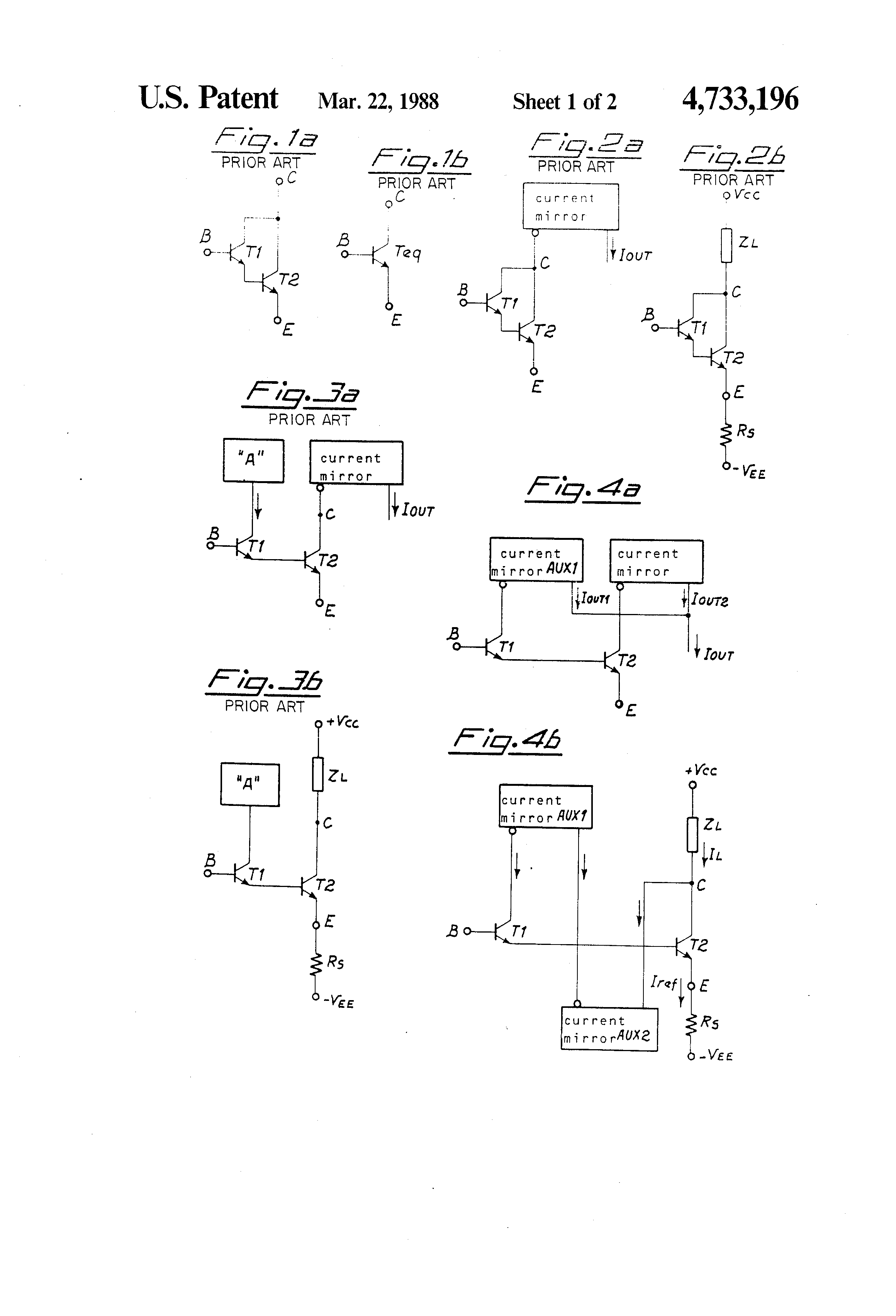 Patent Us4733196 Current Gain Stage With Low Voltage Drop Google Circuit Diagram Currents In The Darlington Pair Drawing
