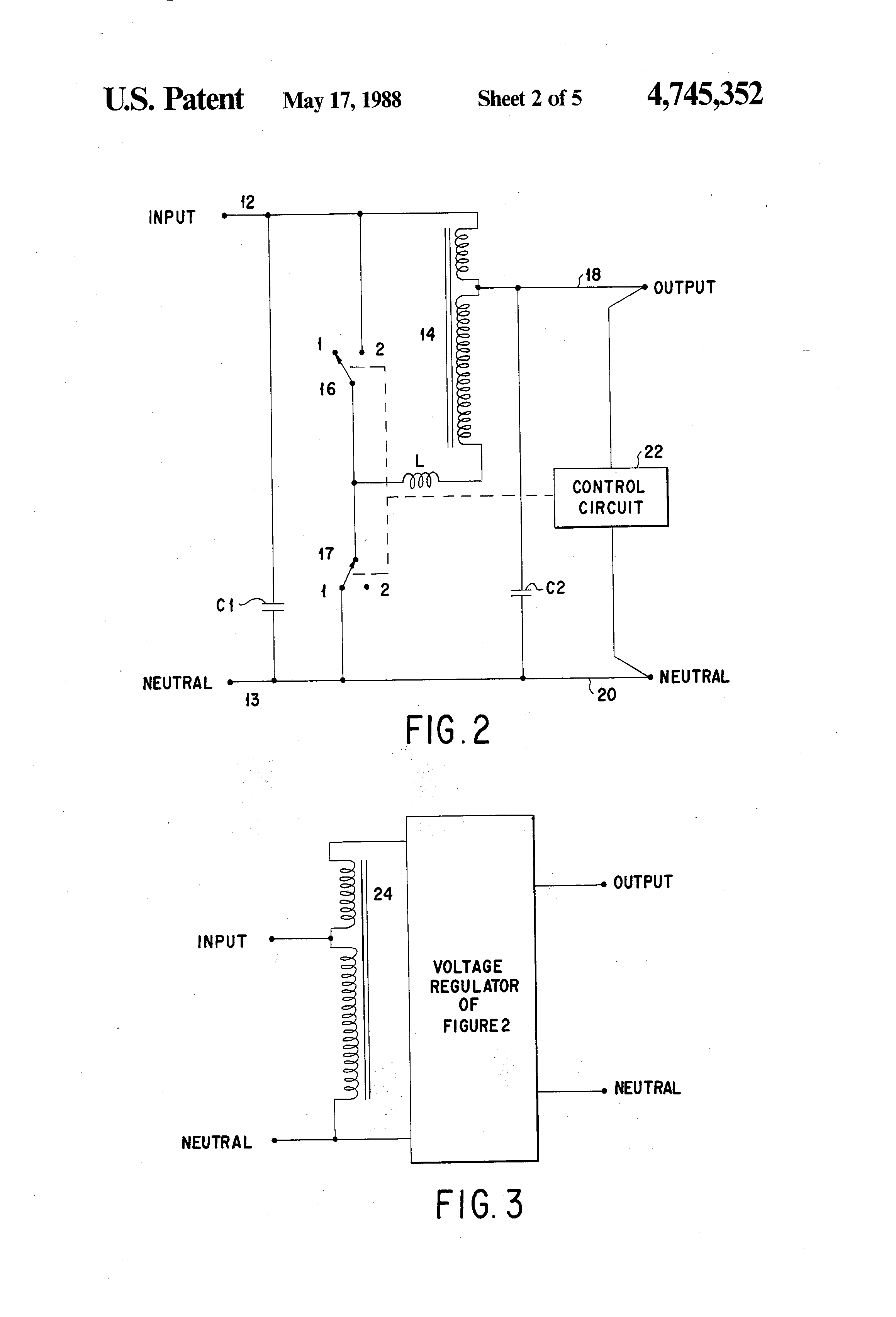 Brevet Us4745352 Switching Ac Voltage Regulator Google Brevets Alternate Positivevoltage Circuit Diagram Patent Drawing