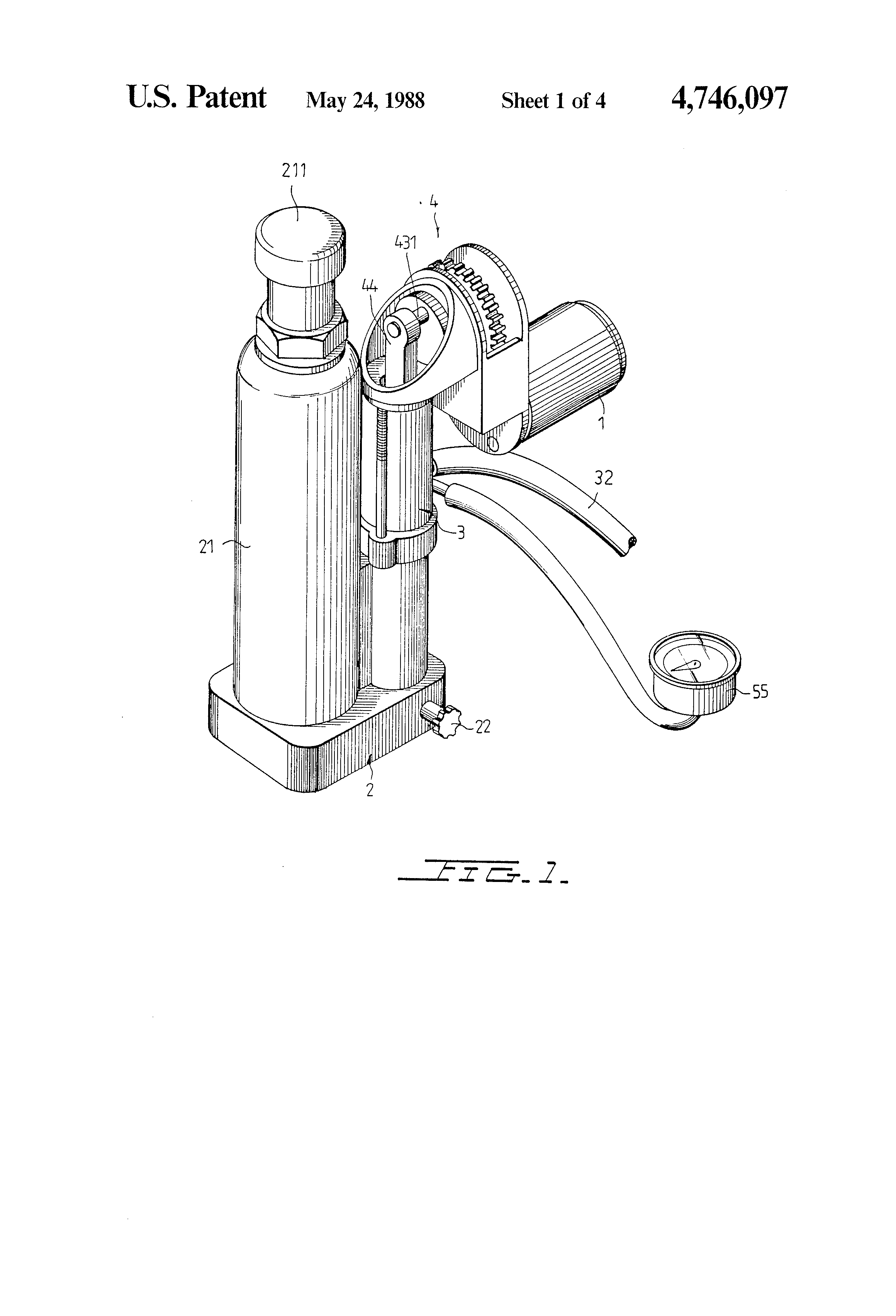 Patent Us4746097 High Efficiency Hydraulic Jack Air Pump Google Diagram Drawing