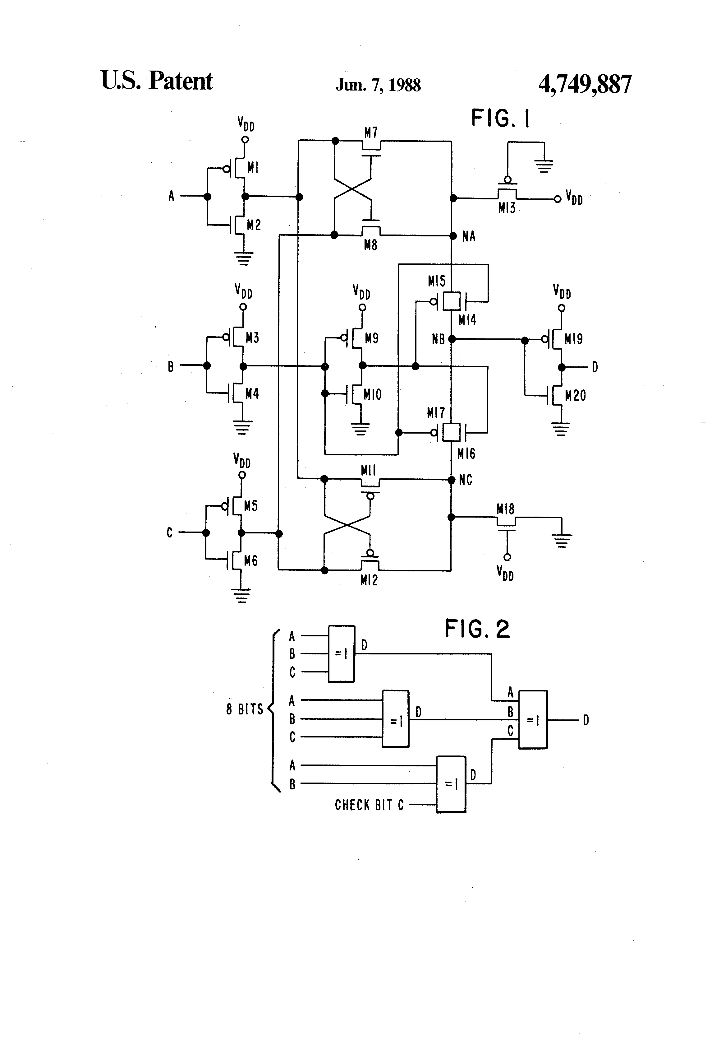 3 Bit Xor Gate Schematic Electrical Drawing Wiring Diagram Nand Circuit Patente Us4749887 Input Exclusive Or Google Patentes Rh Tl 6 Transistor Level Of Design