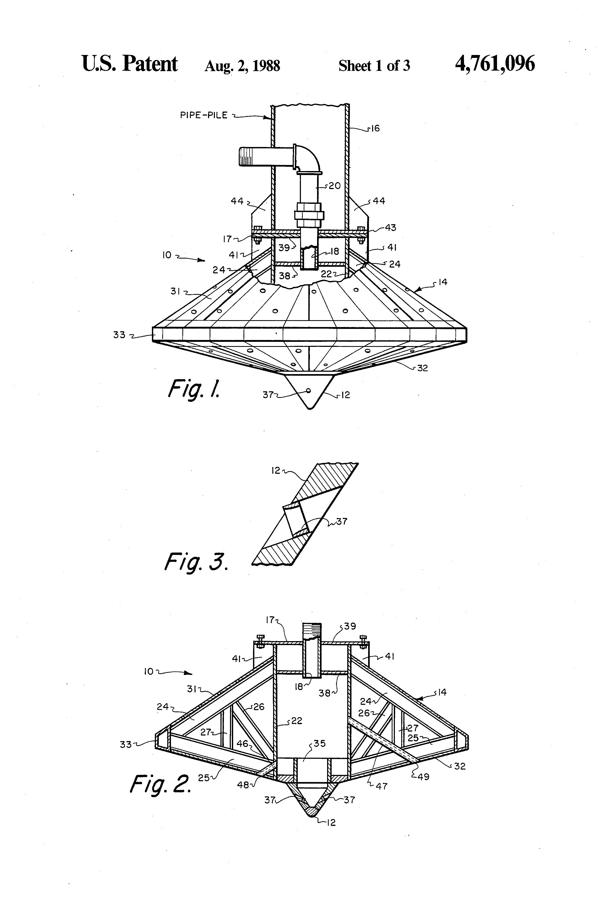 Patent US4761096 - Universal footing with jetting system ...
