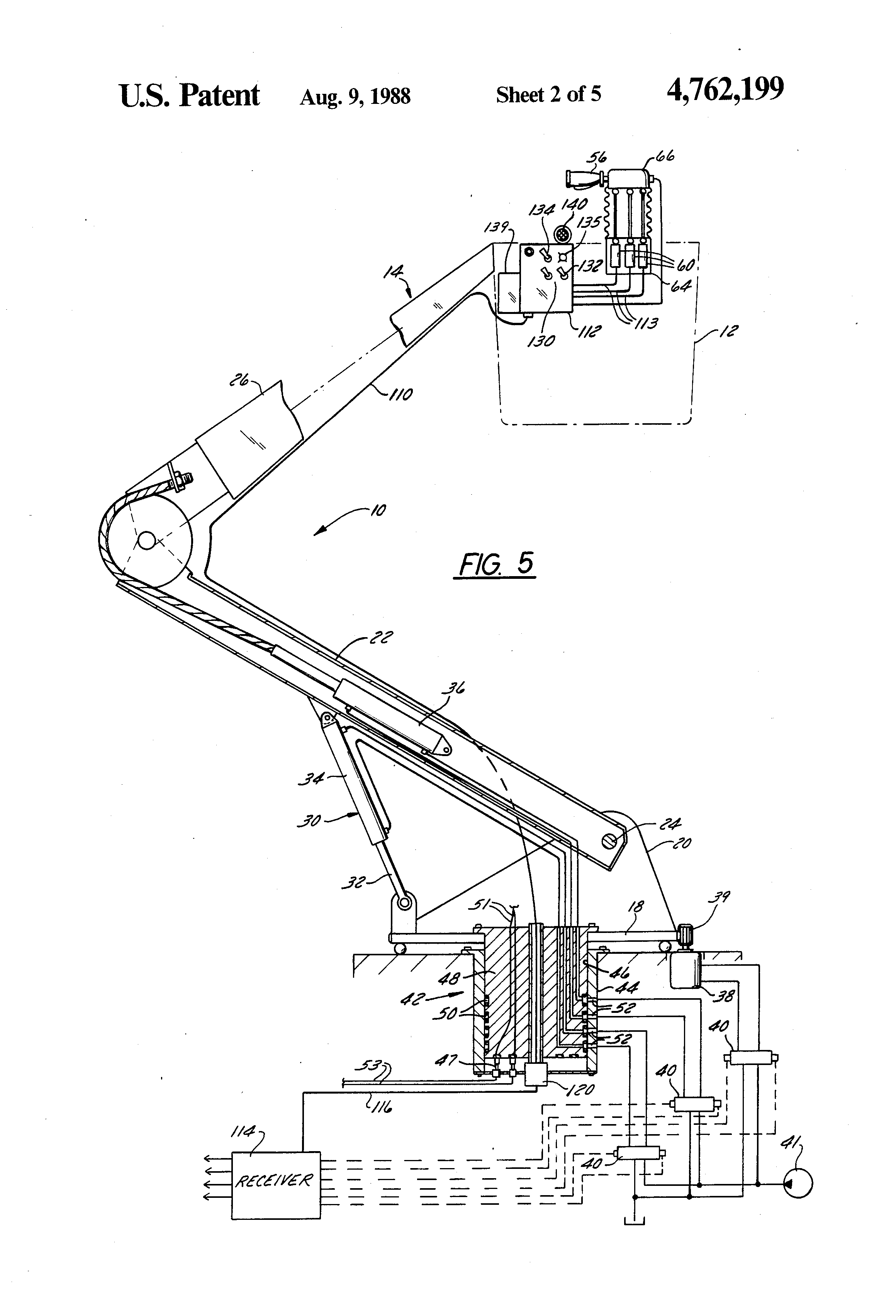 patent us4762199 - aerial lift including fiber optics boom control