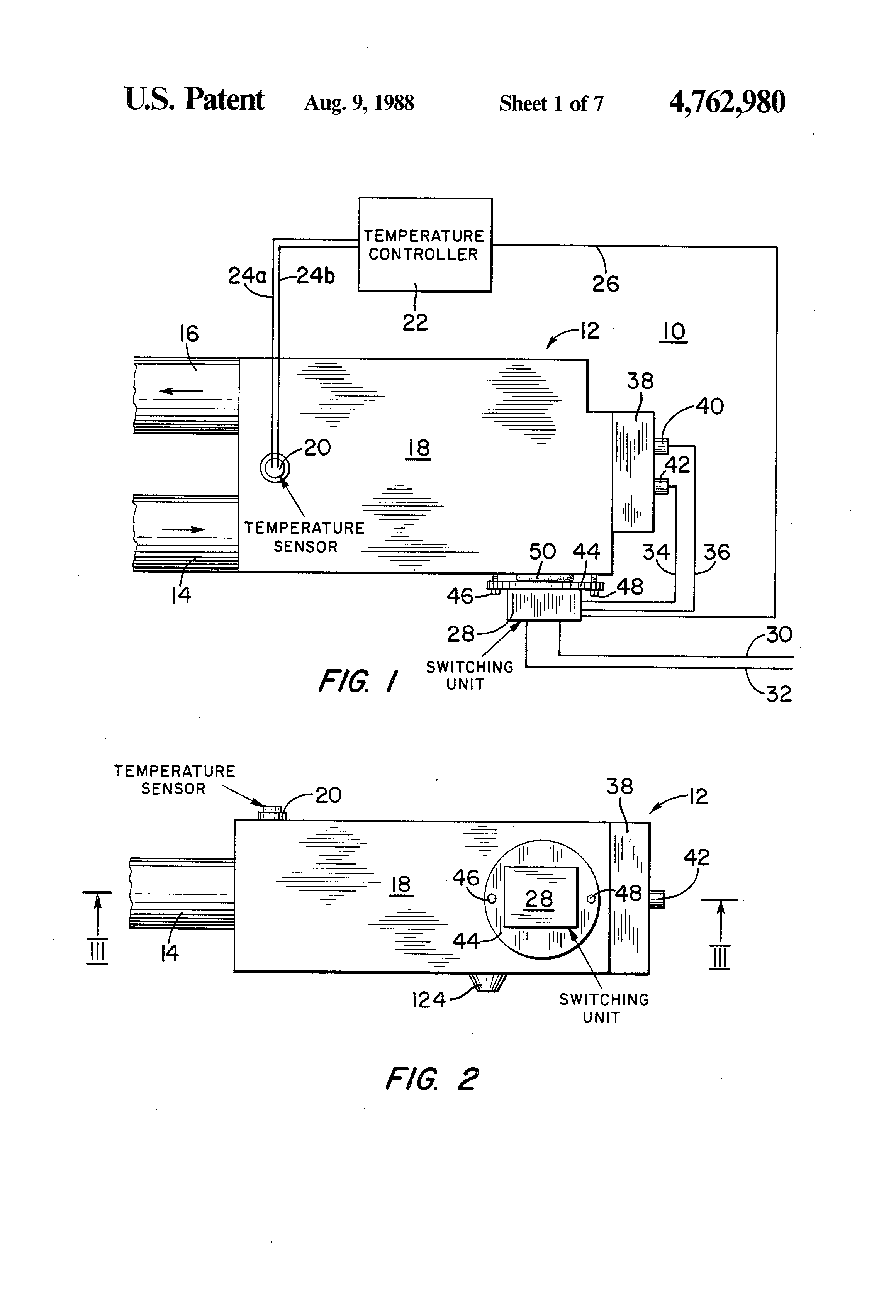 Patent Us4762980 Electrical Resistance Fluid Heating Apparatus Cartridge Heater Wiring Diagram Drawing